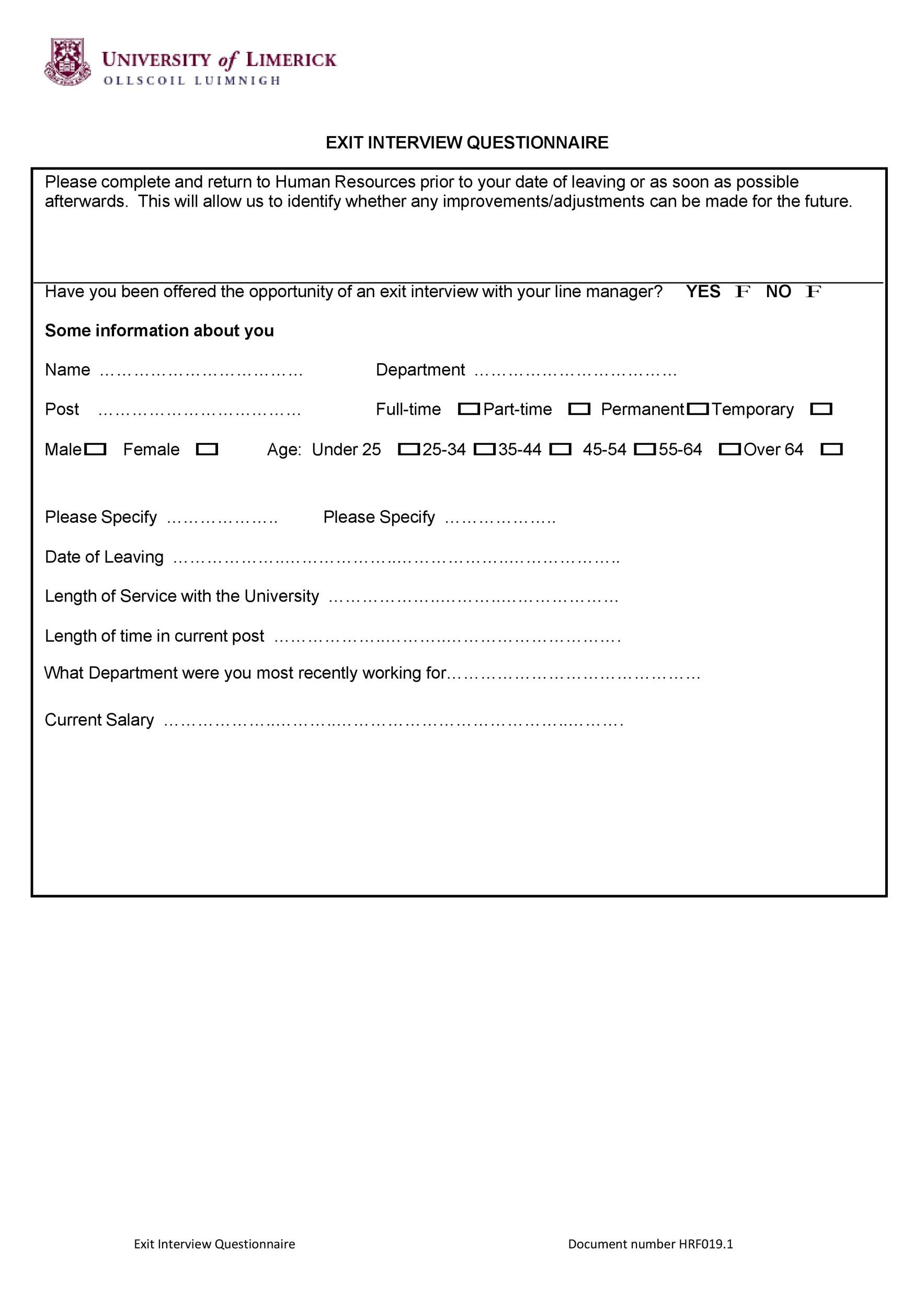 Free exit interview template 11