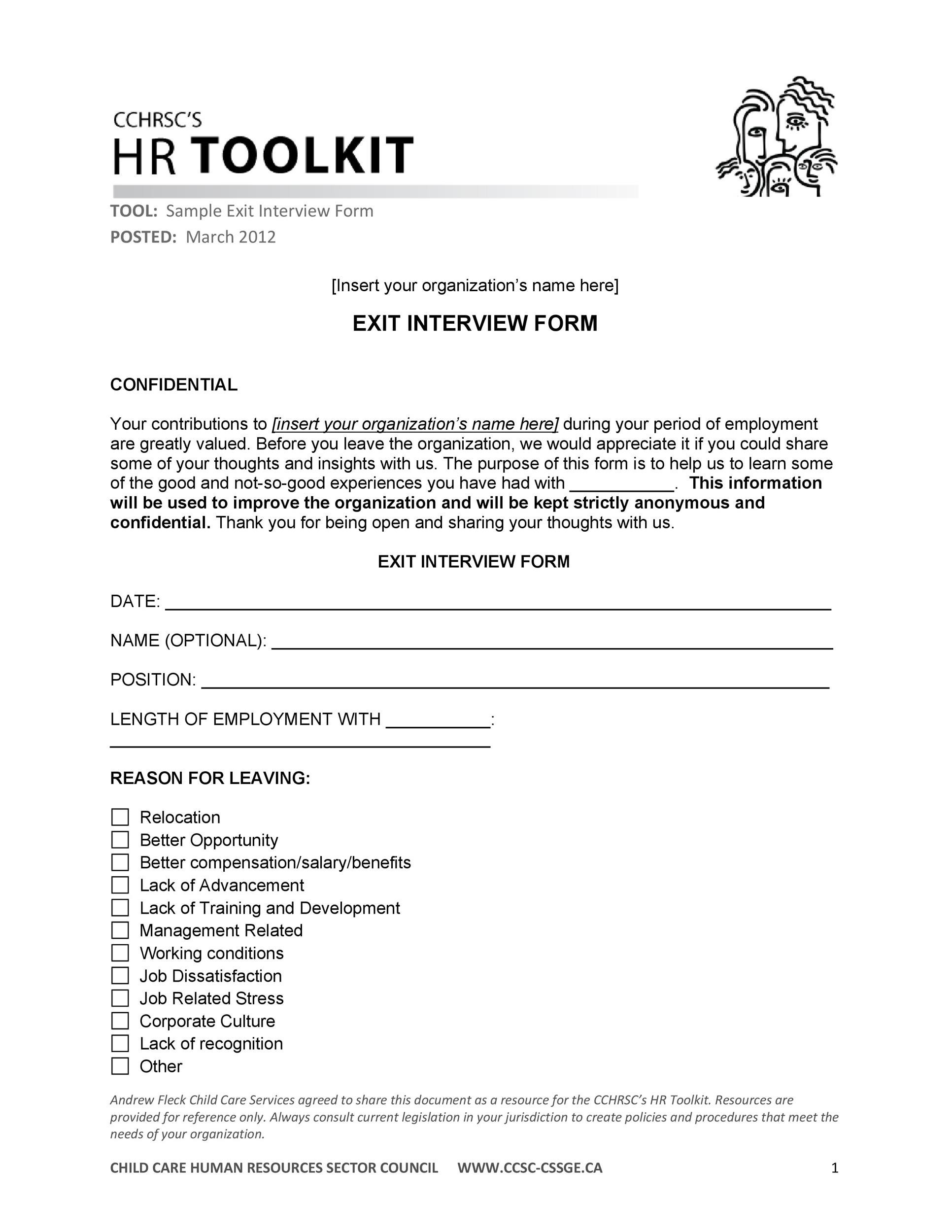 Free exit interview template 12