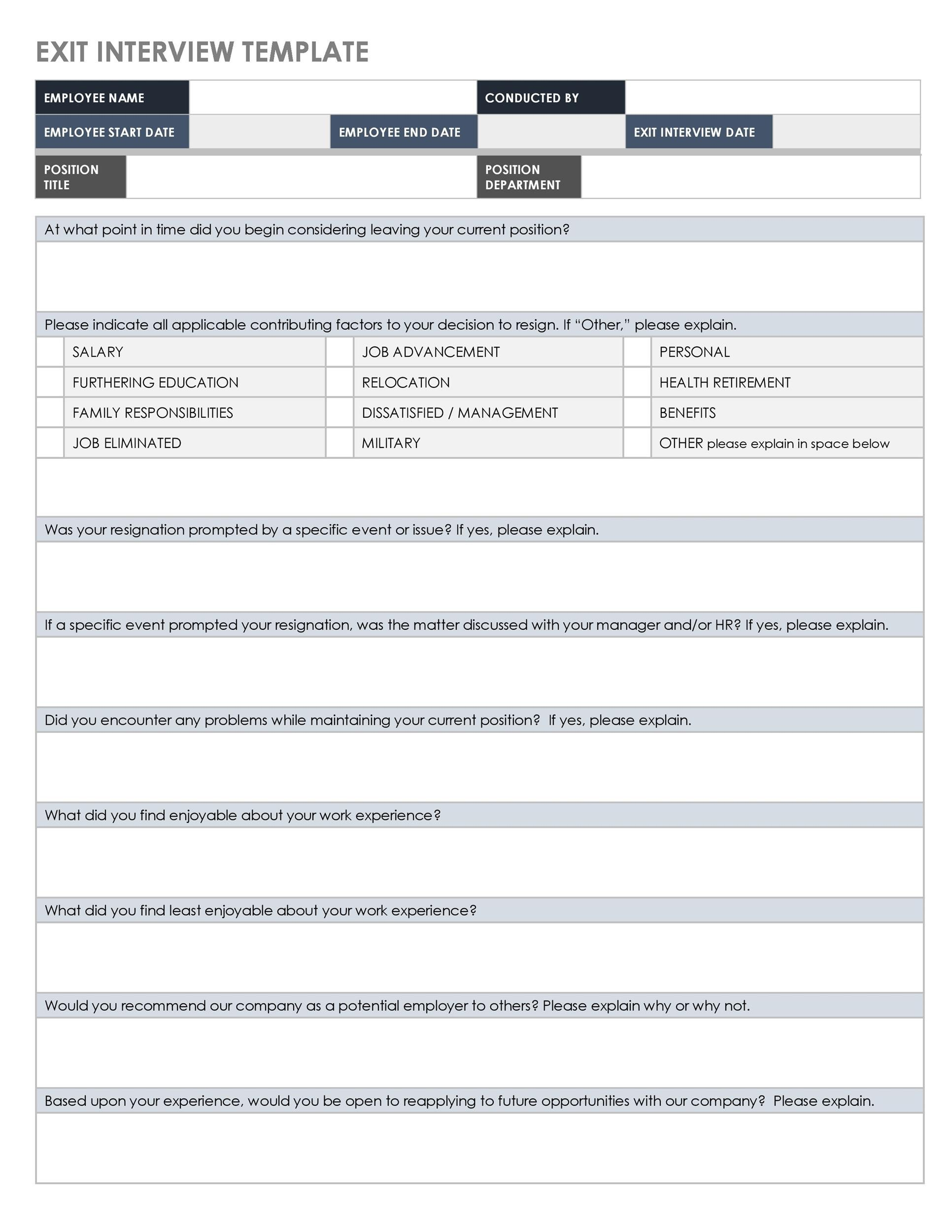 Free exit interview template 15
