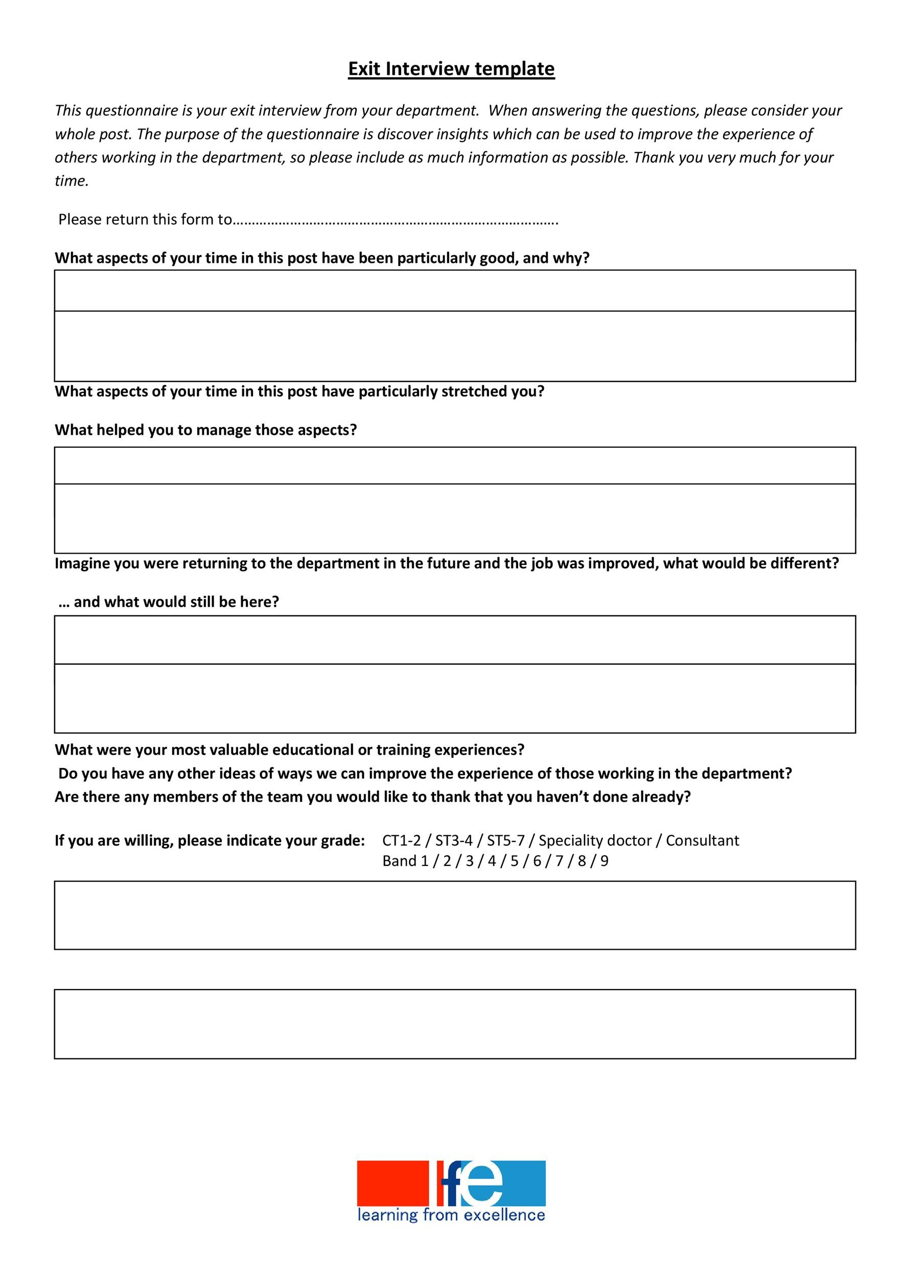 Free exit interview template 16