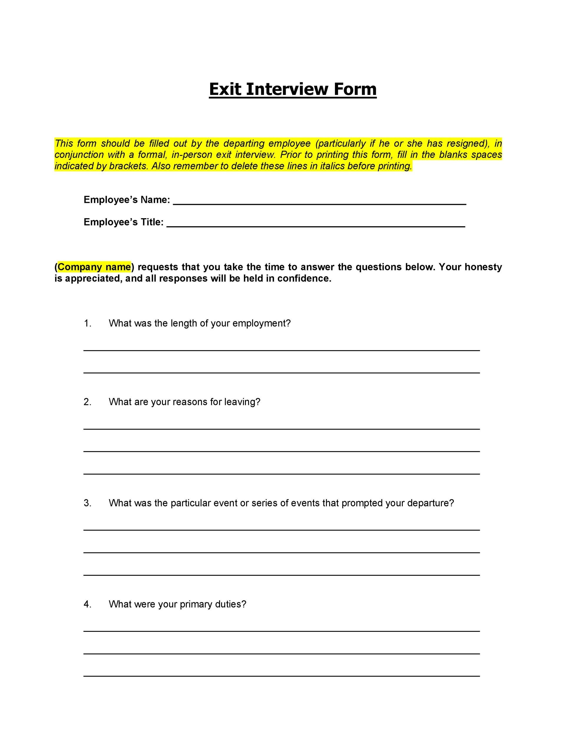 Free exit interview template 20