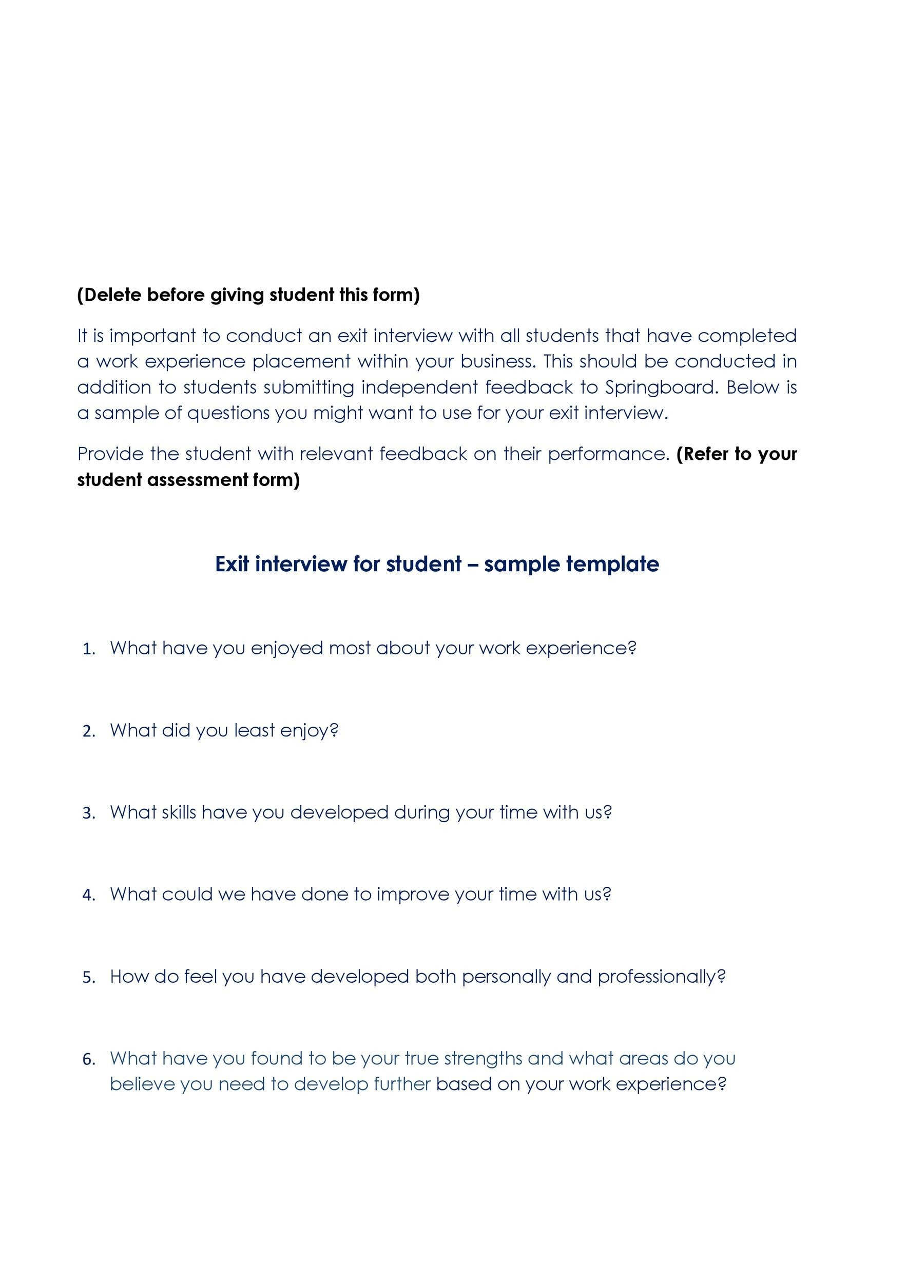 Free exit interview template 21