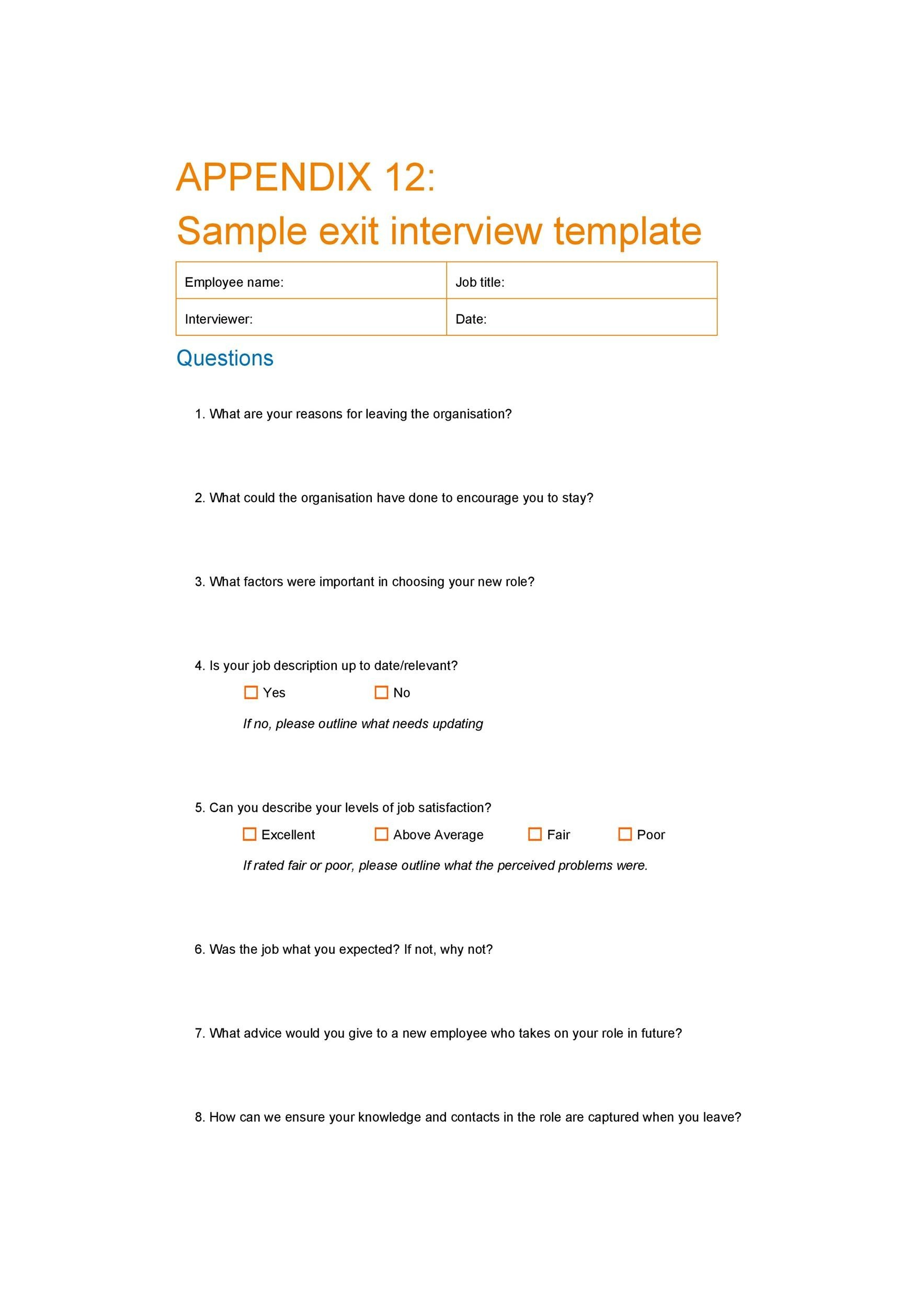 Free exit interview template 22
