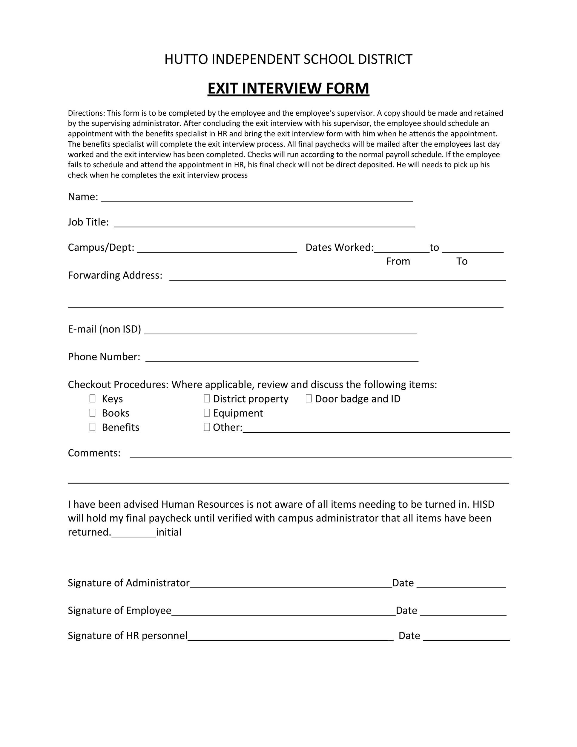 Free exit interview template 23
