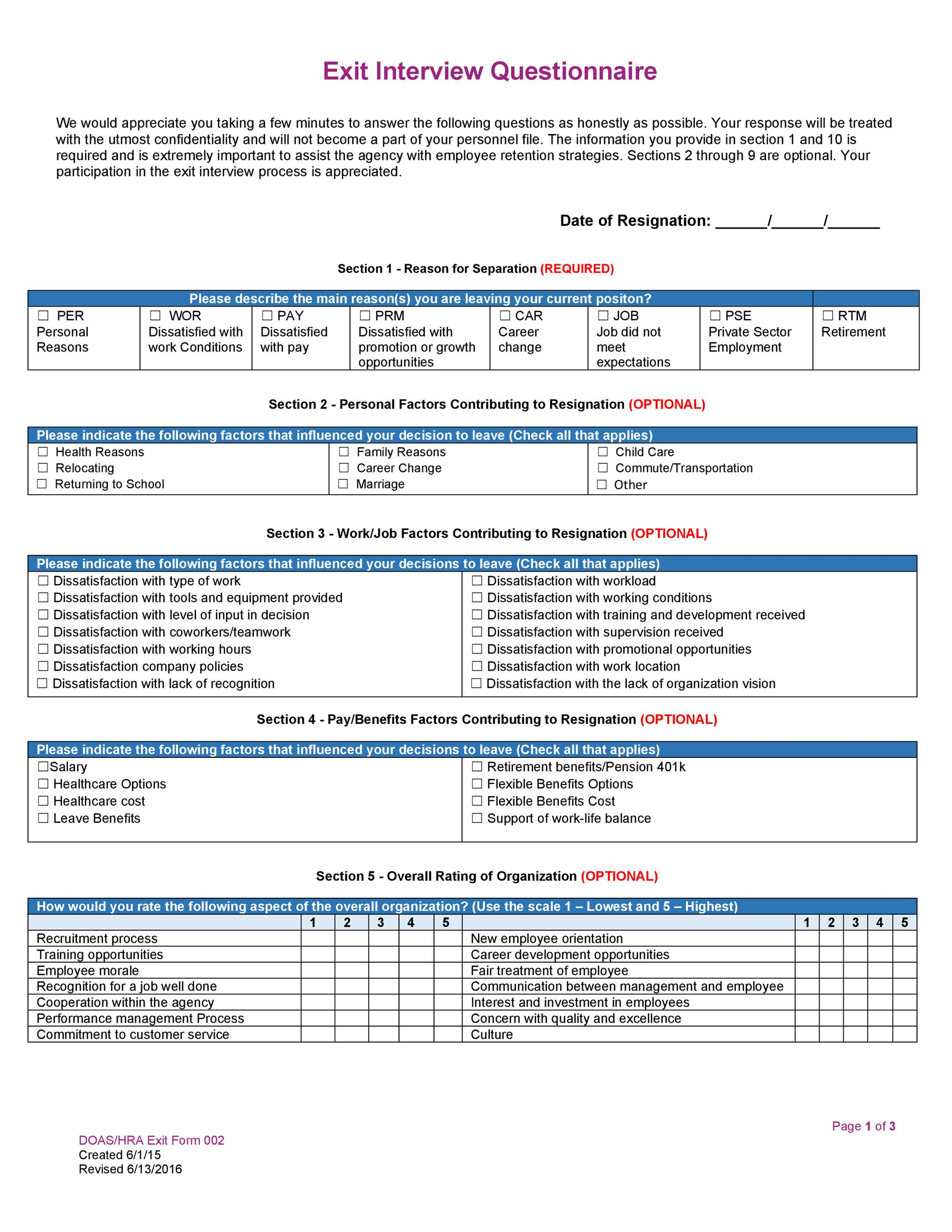 Free exit interview template 24