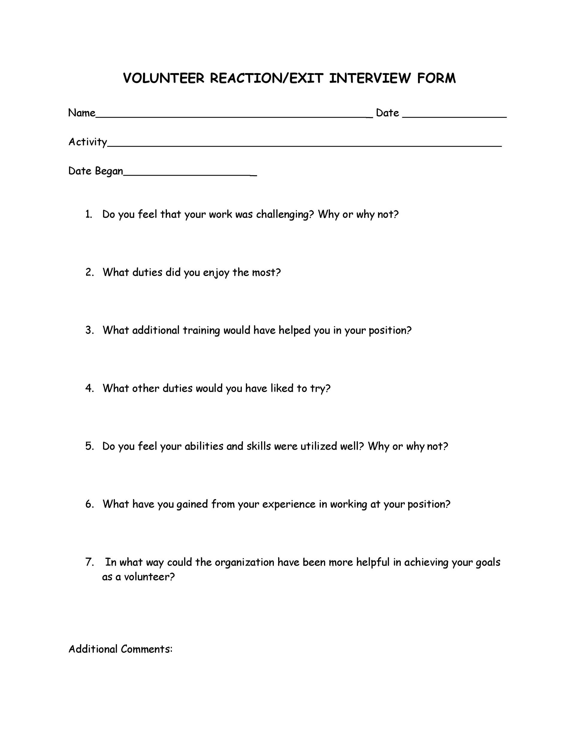Free exit interview template 25