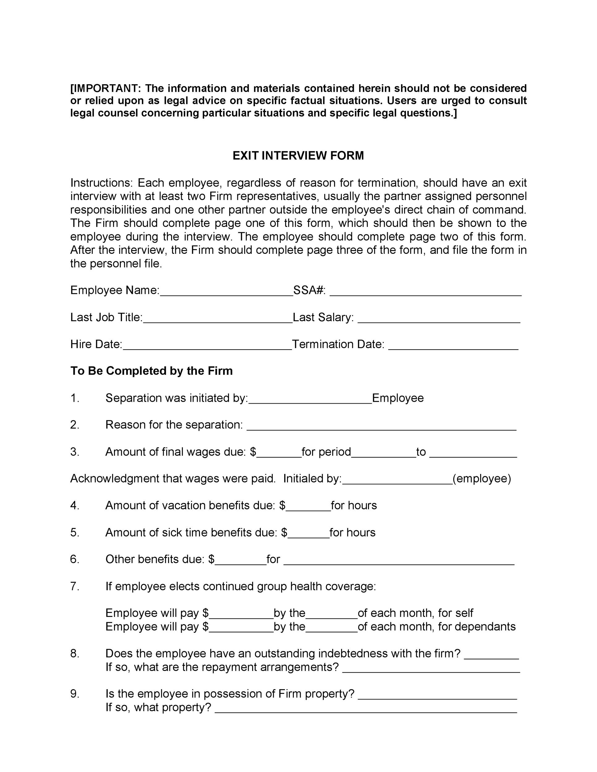 Free exit interview template 27