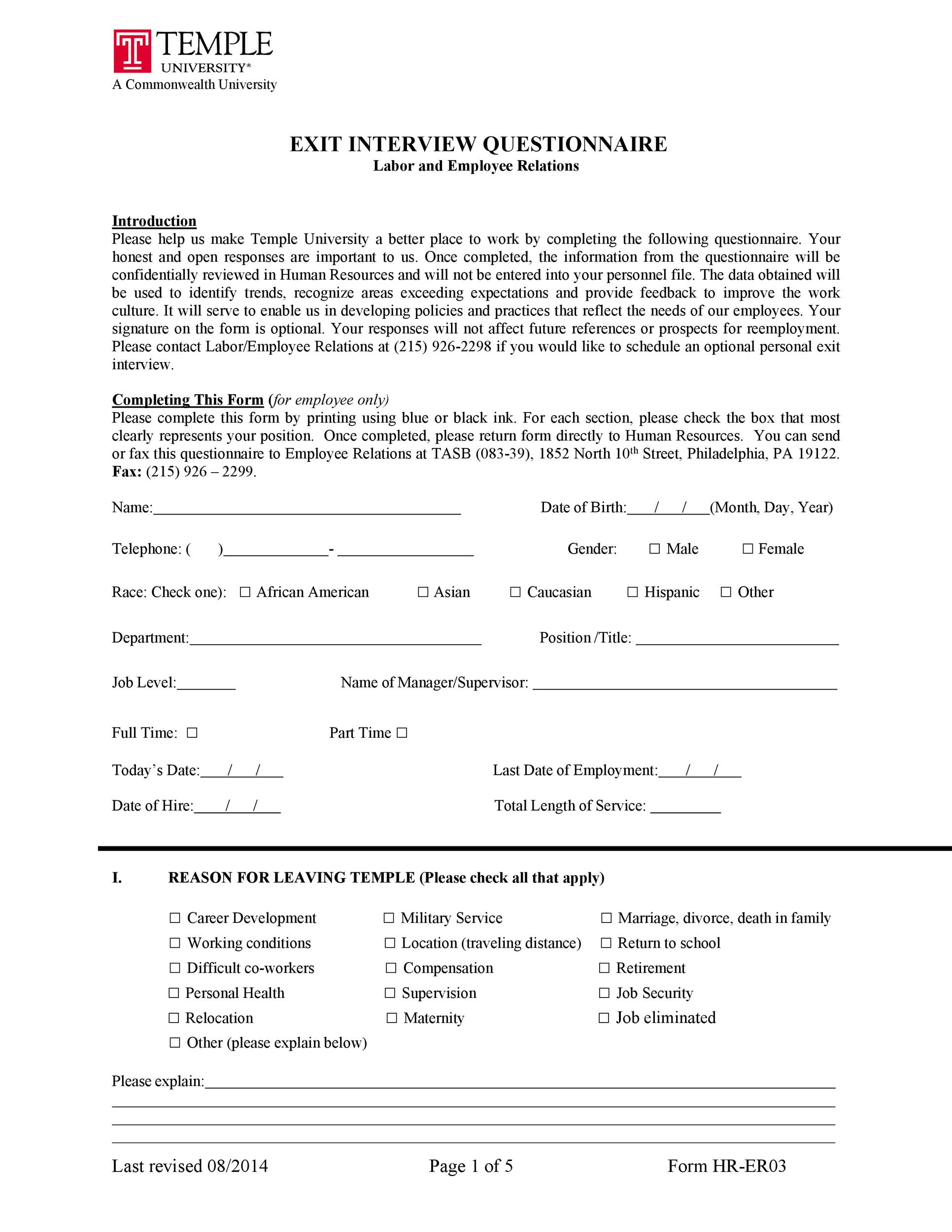 Free exit interview template 28