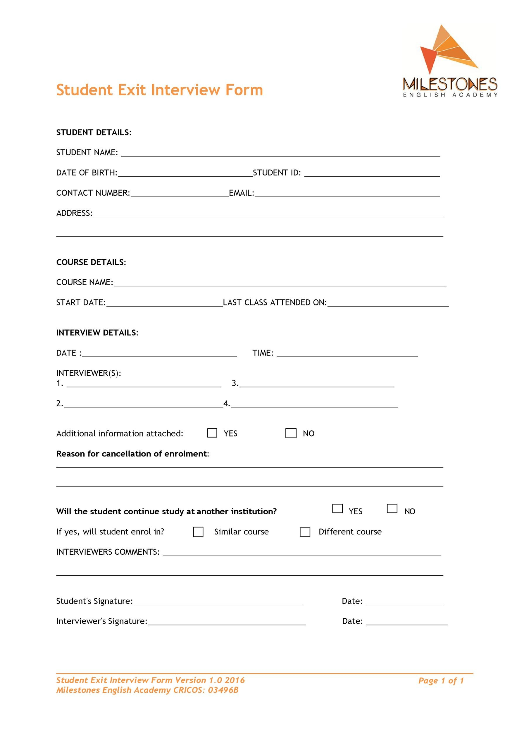 Free exit interview template 30