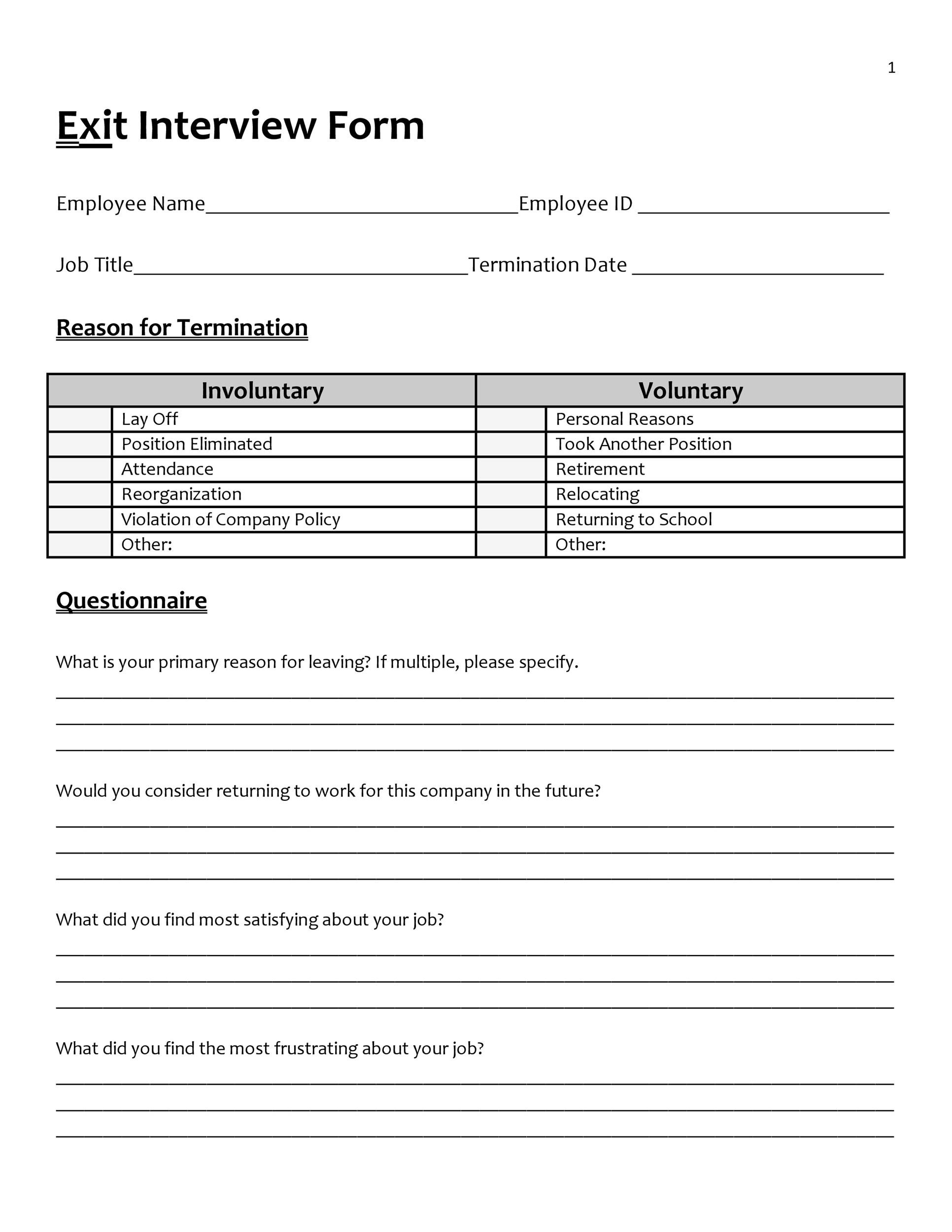 Free exit interview template 32
