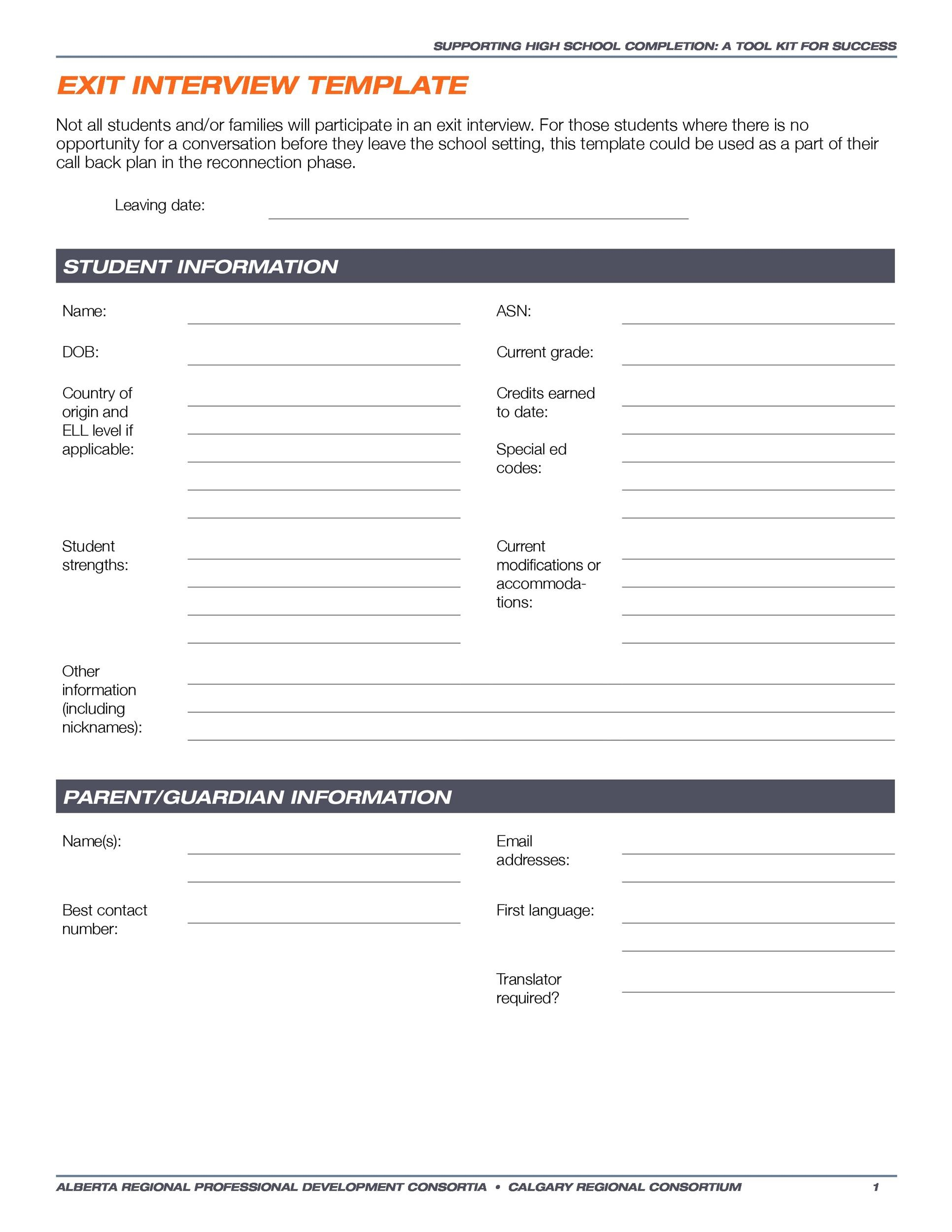Free exit interview template 34