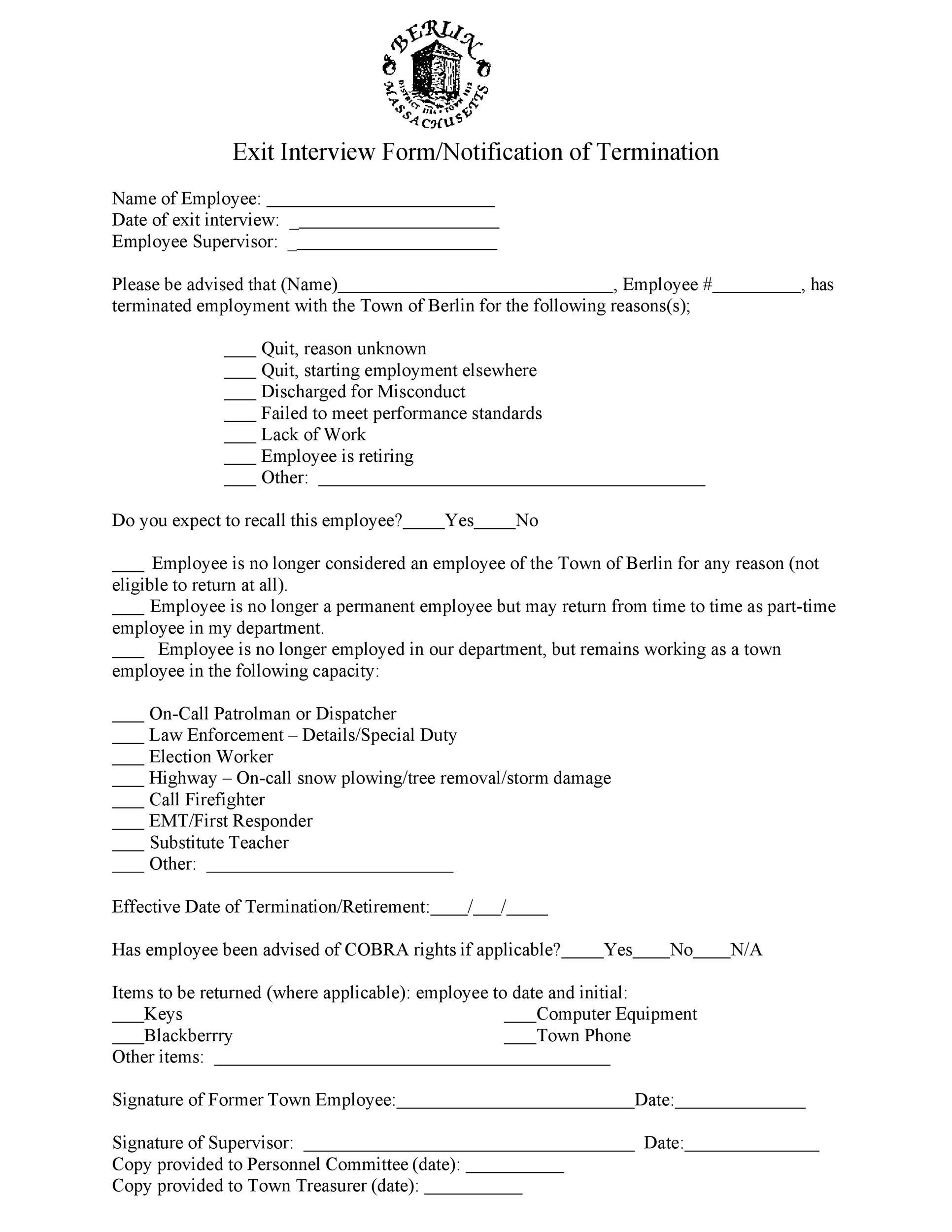 Free exit interview template 35