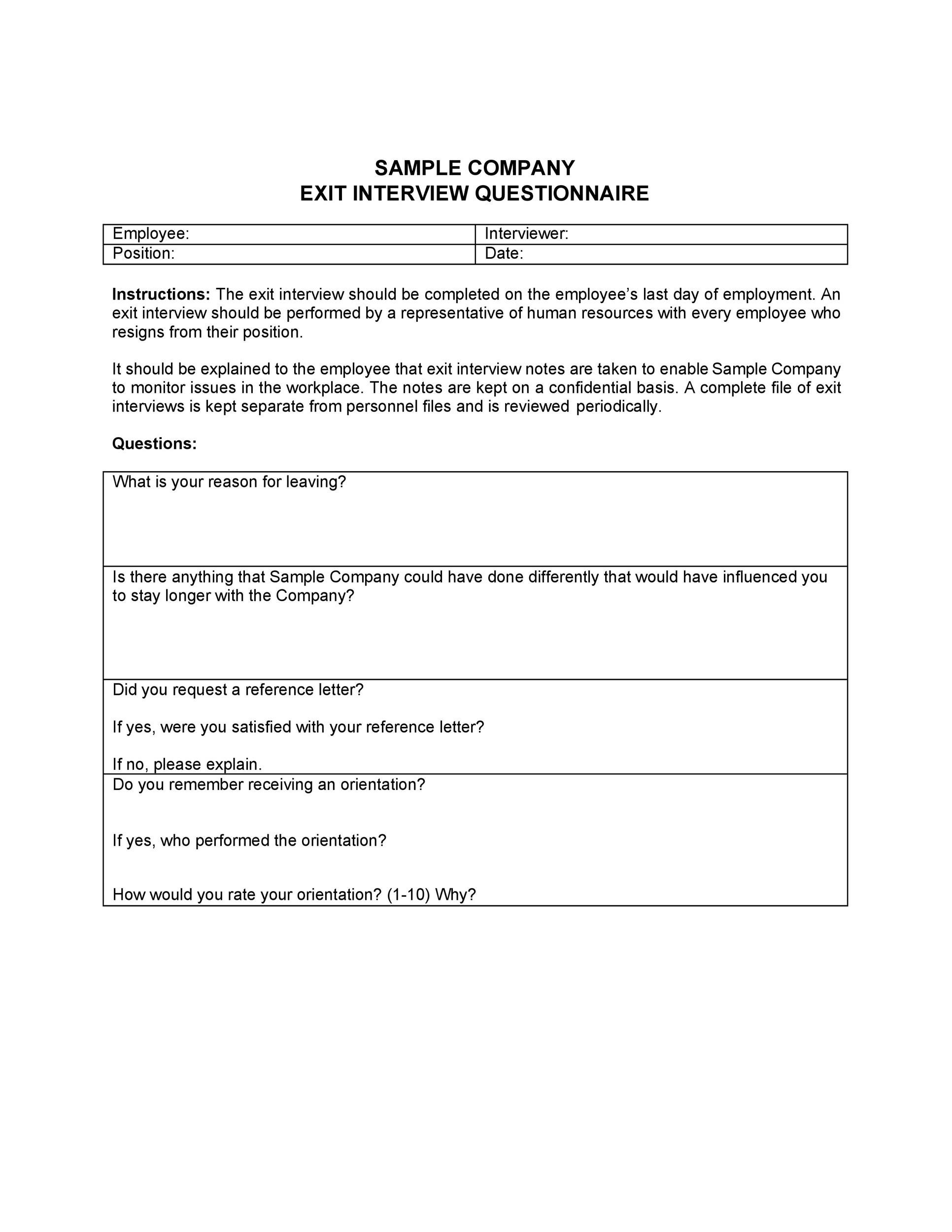 Free exit interview template 38