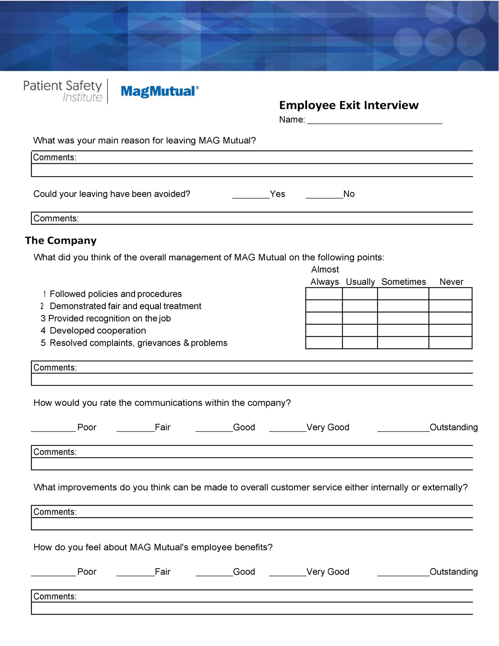 Free exit interview template 40