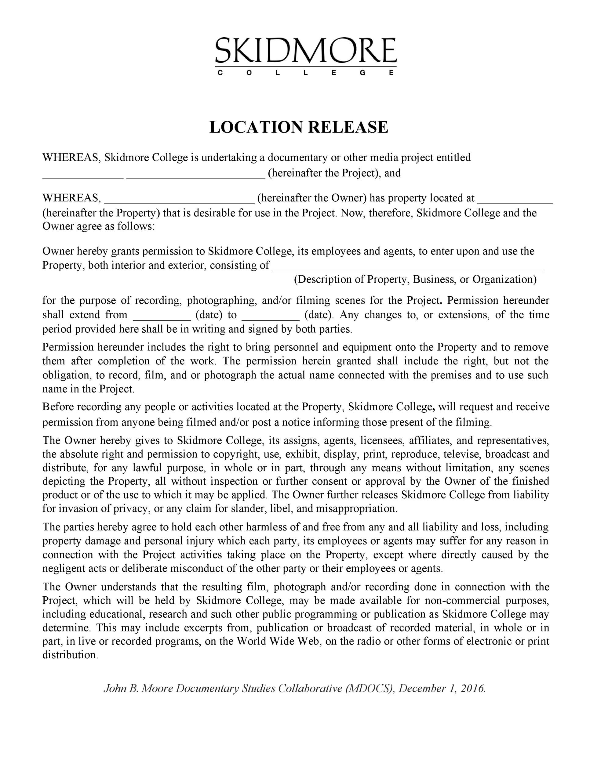 Free location release form 04