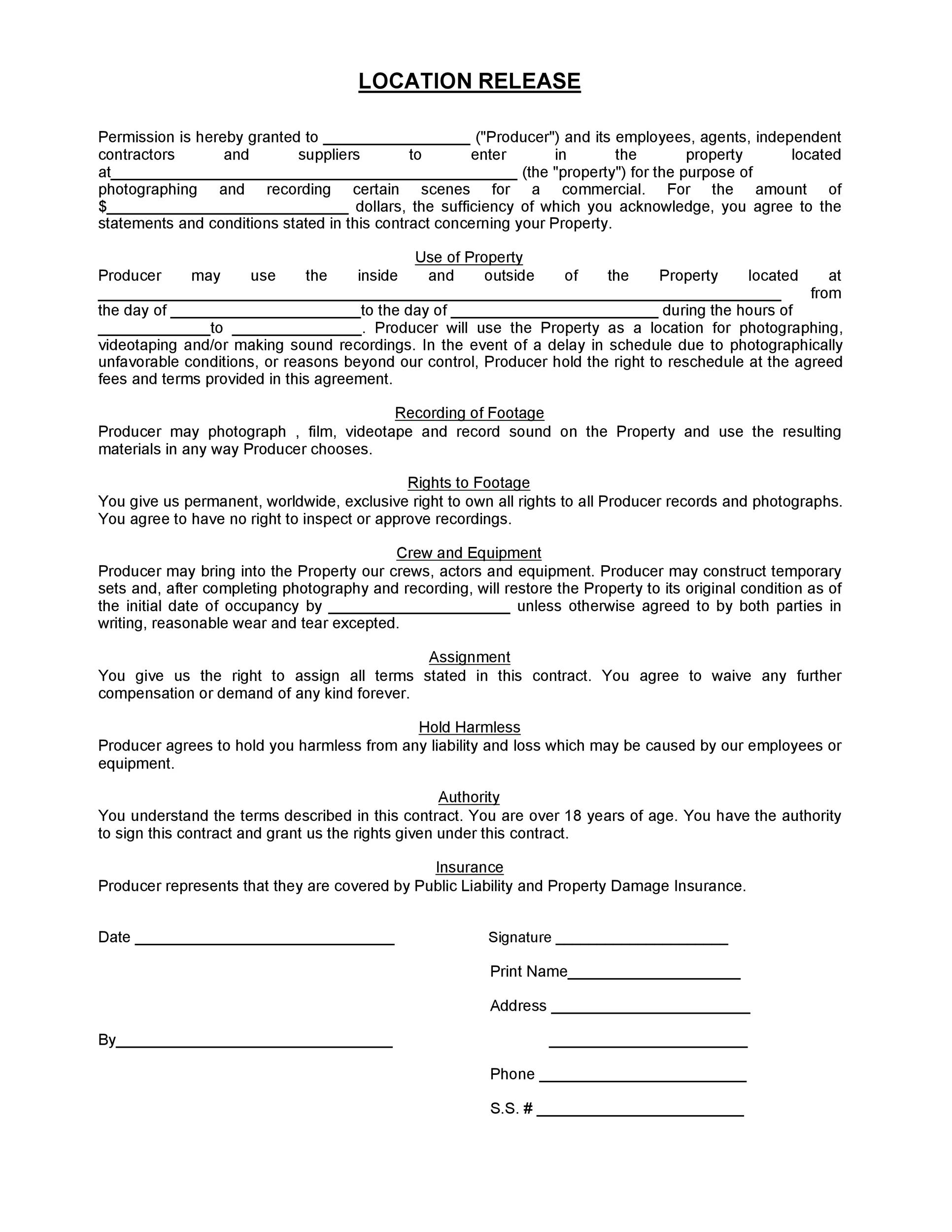 Free location release form 05