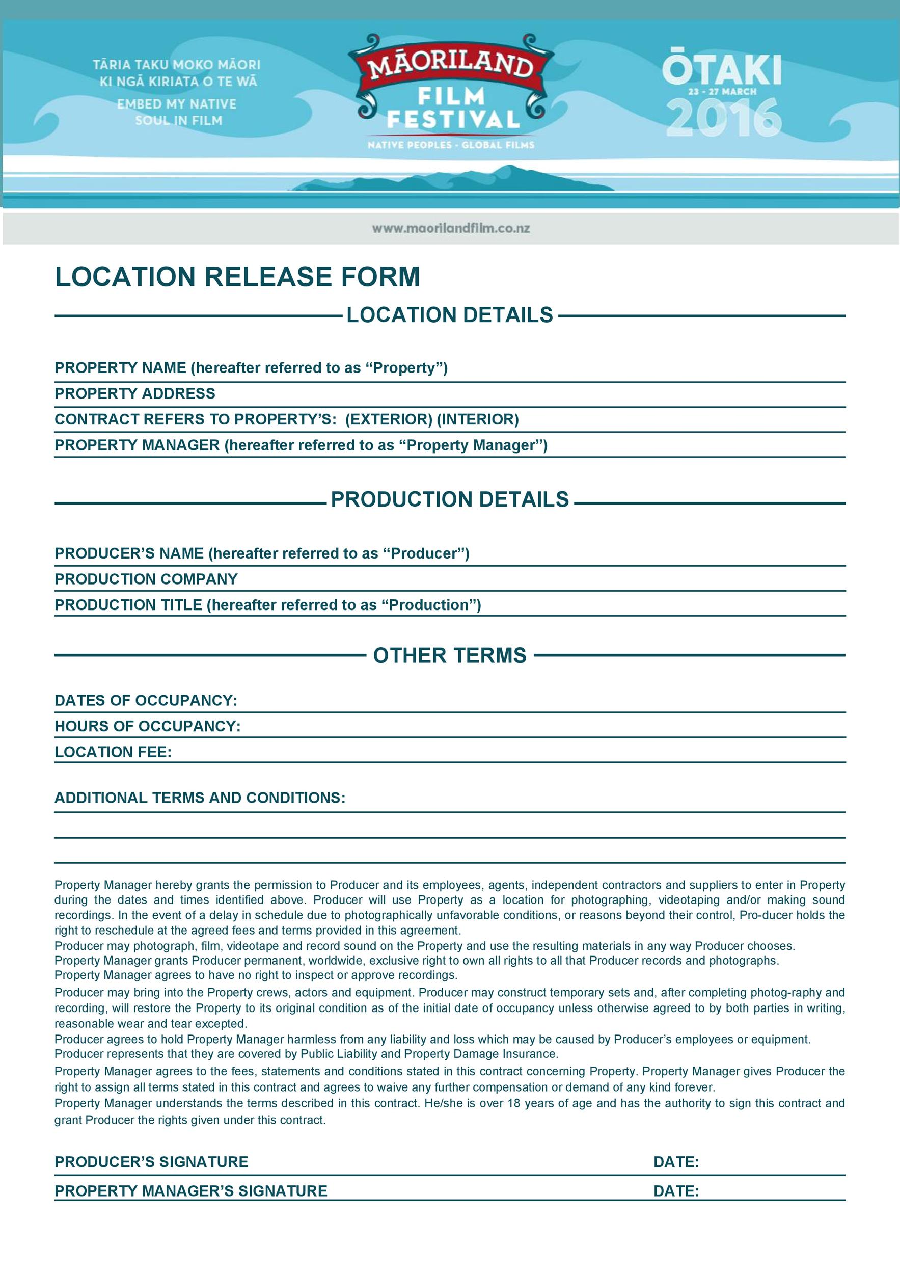 Free location release form 06