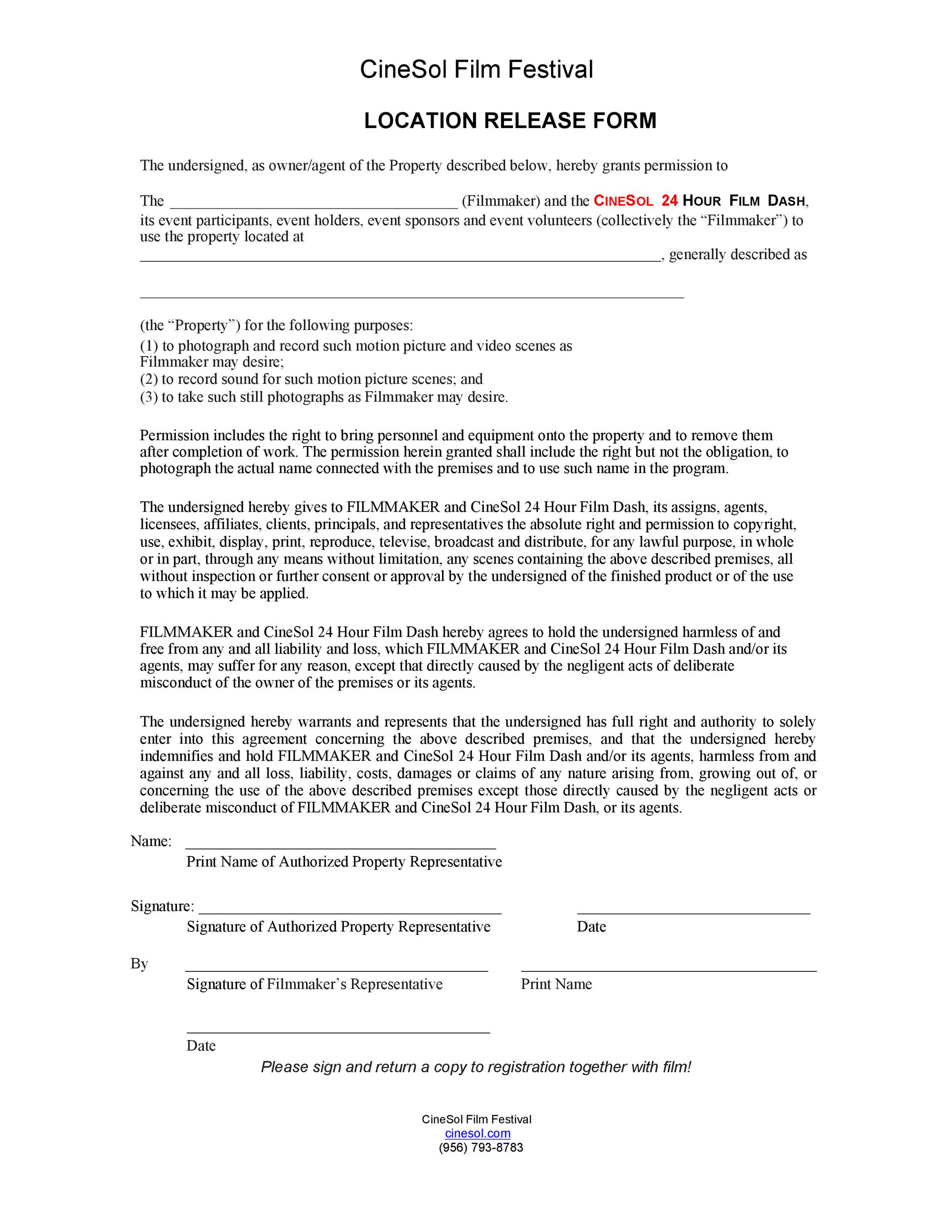 Free location release form 11