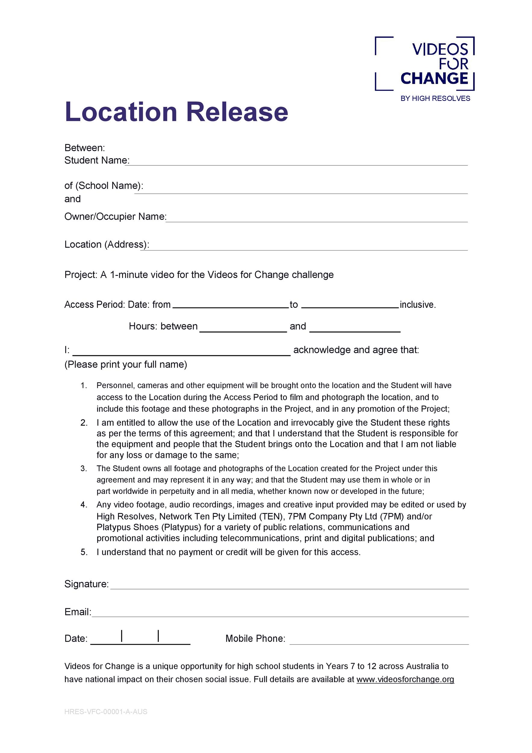 Free location release form 19