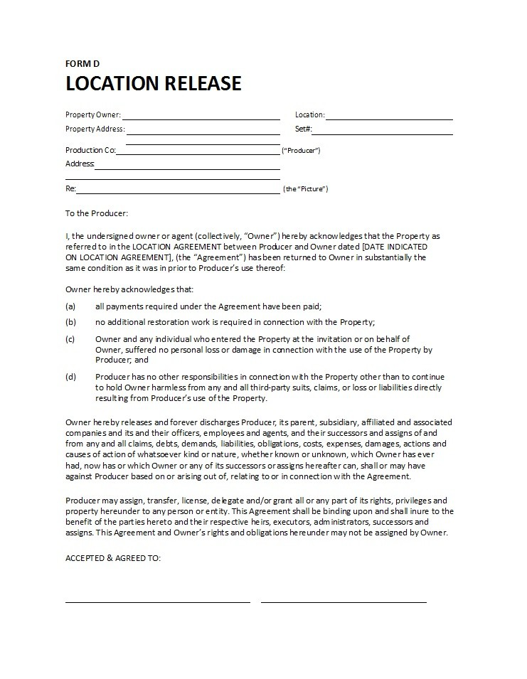 Free location release form 20