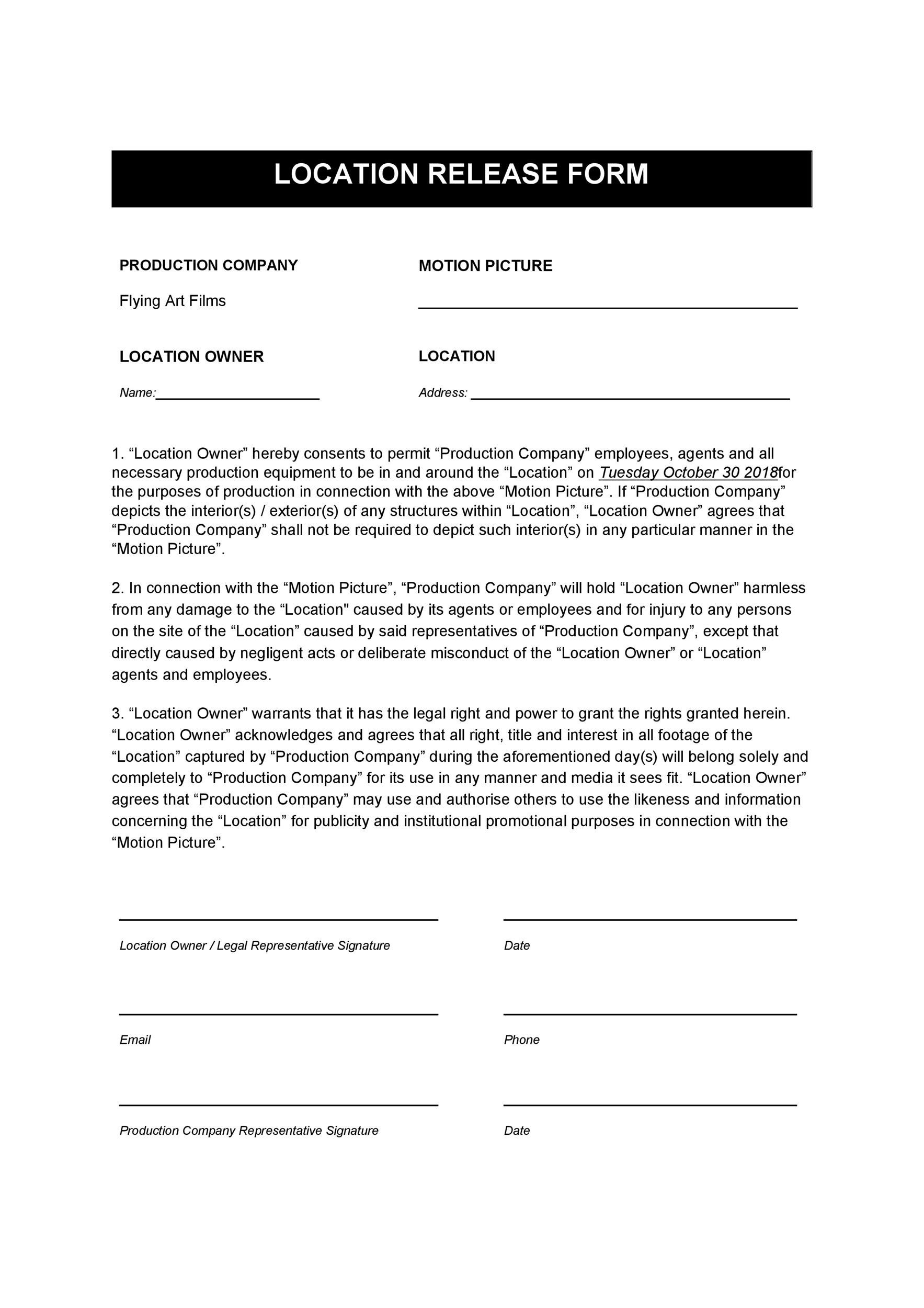 Free location release form 21