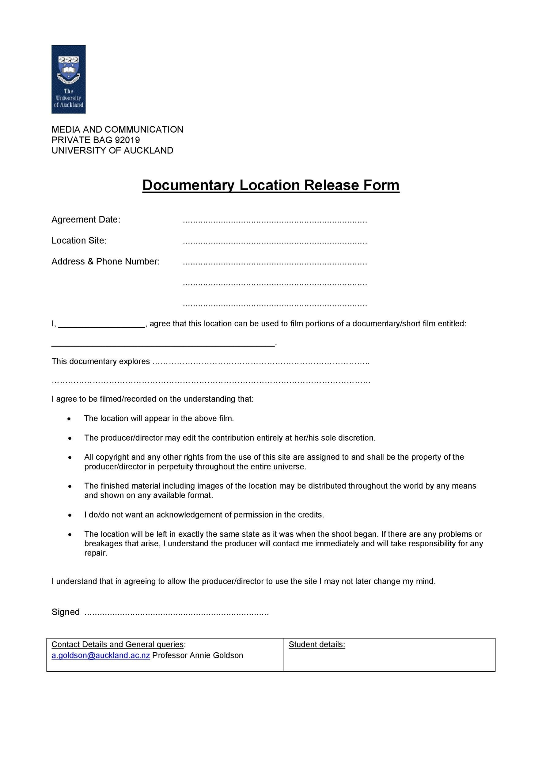 Free location release form 23