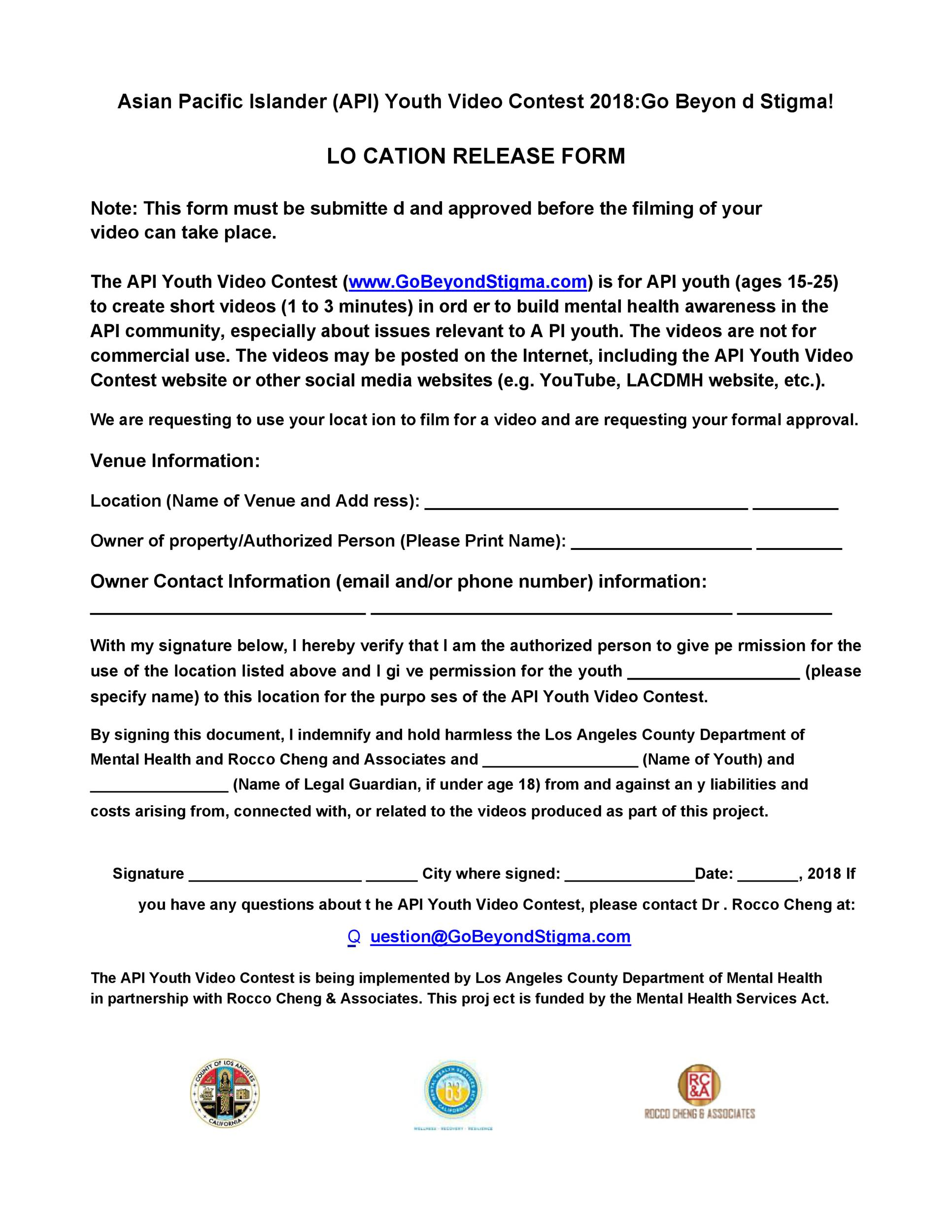 Free location release form 34