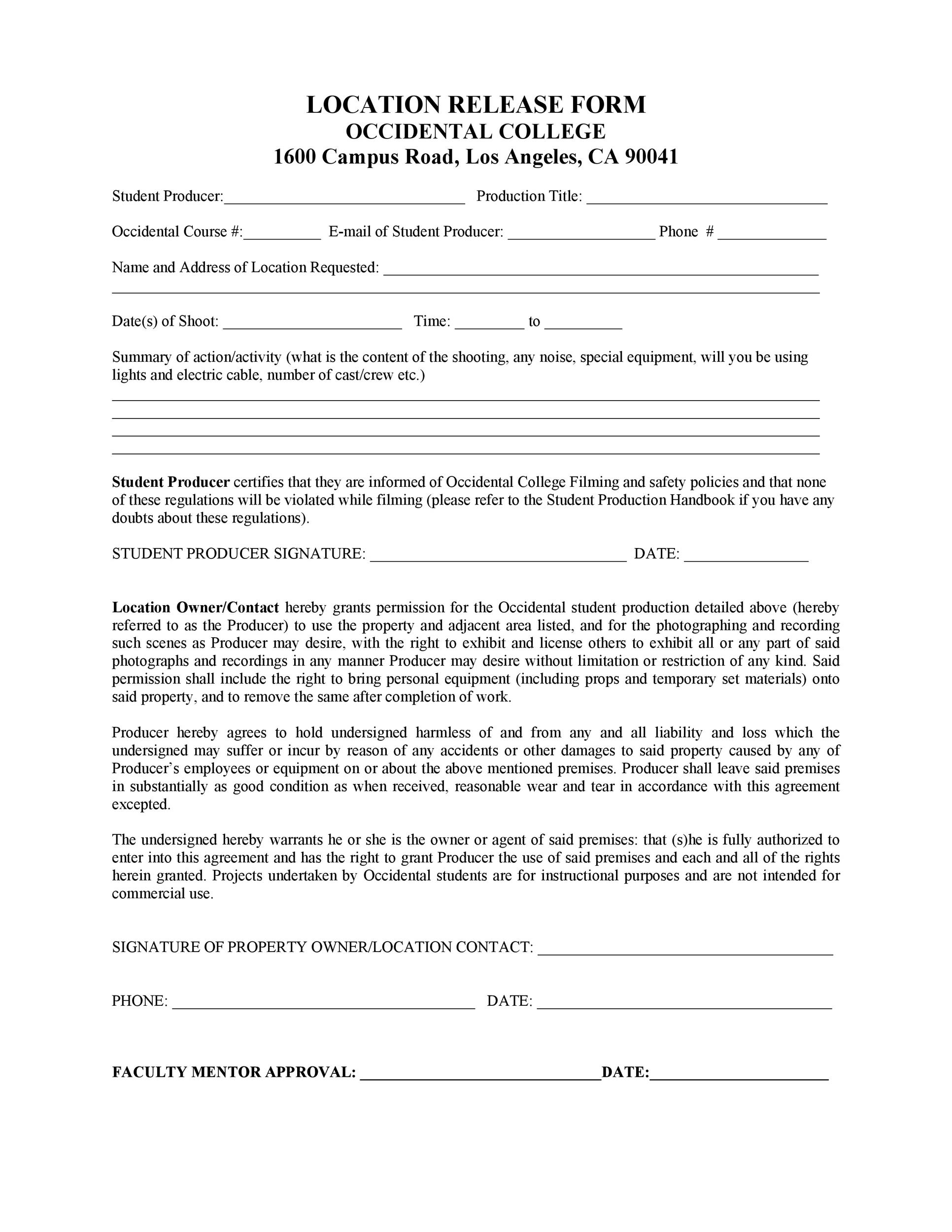 Free location release form 50