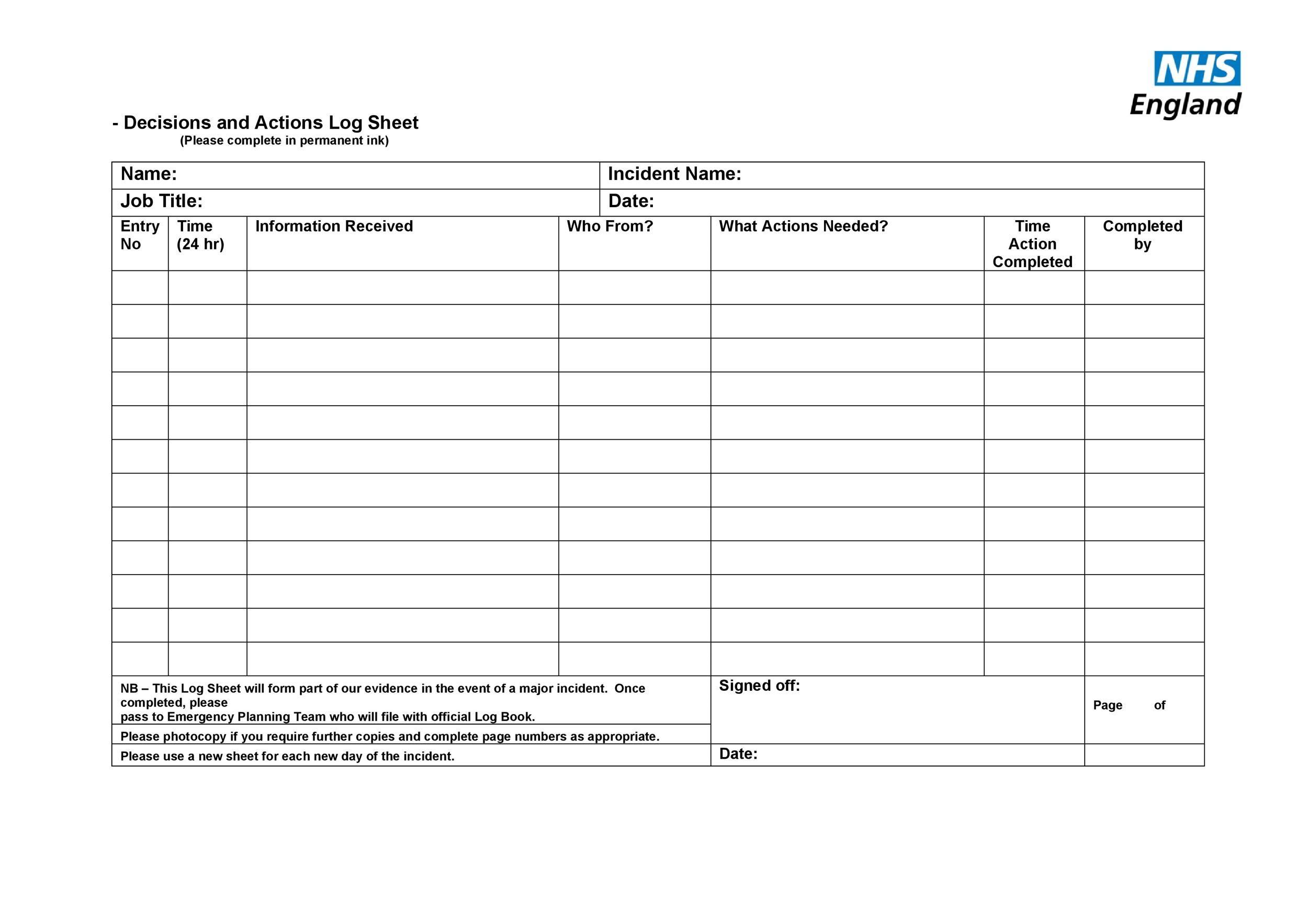 Free log sheet 01