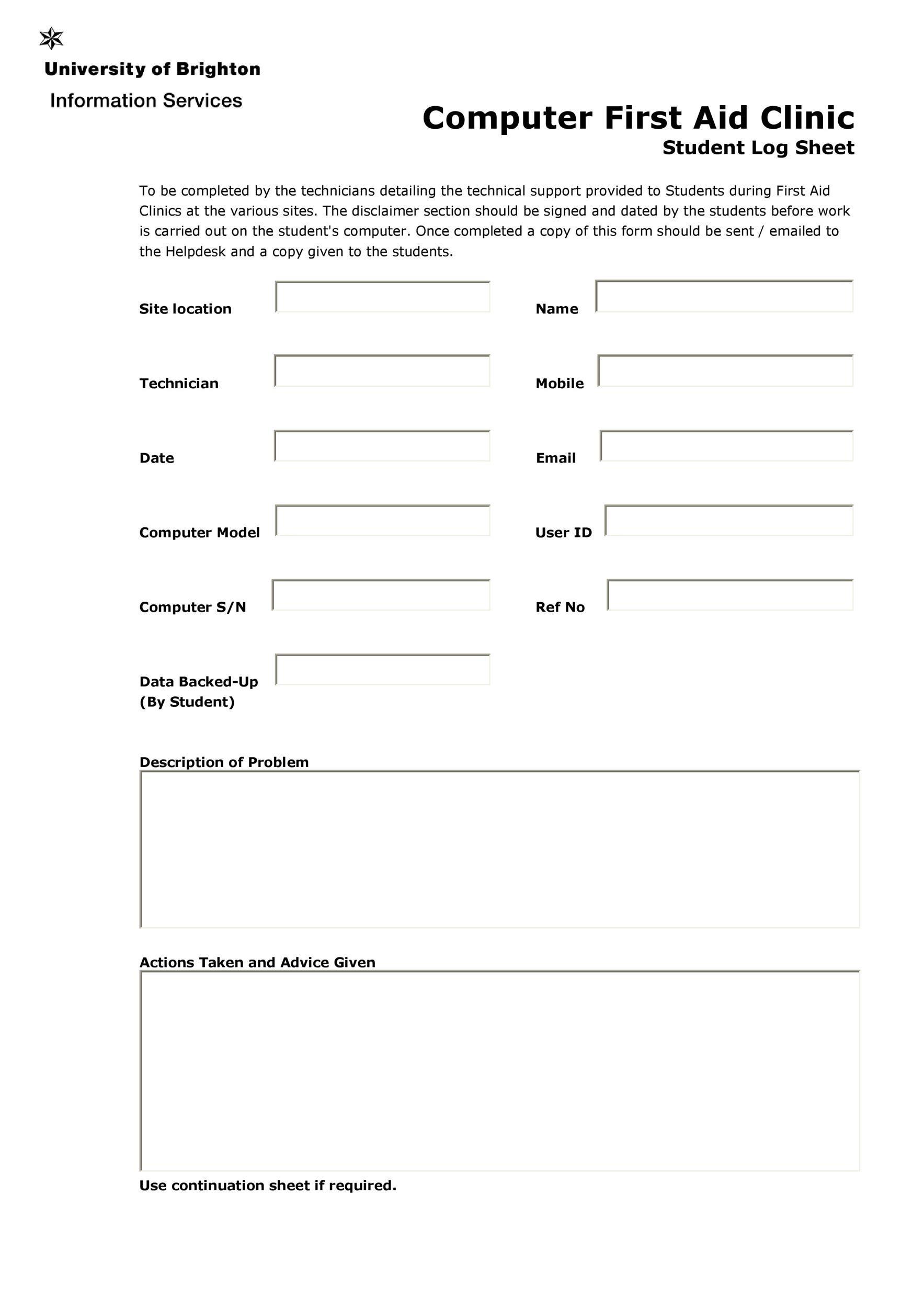 Free log sheet 07