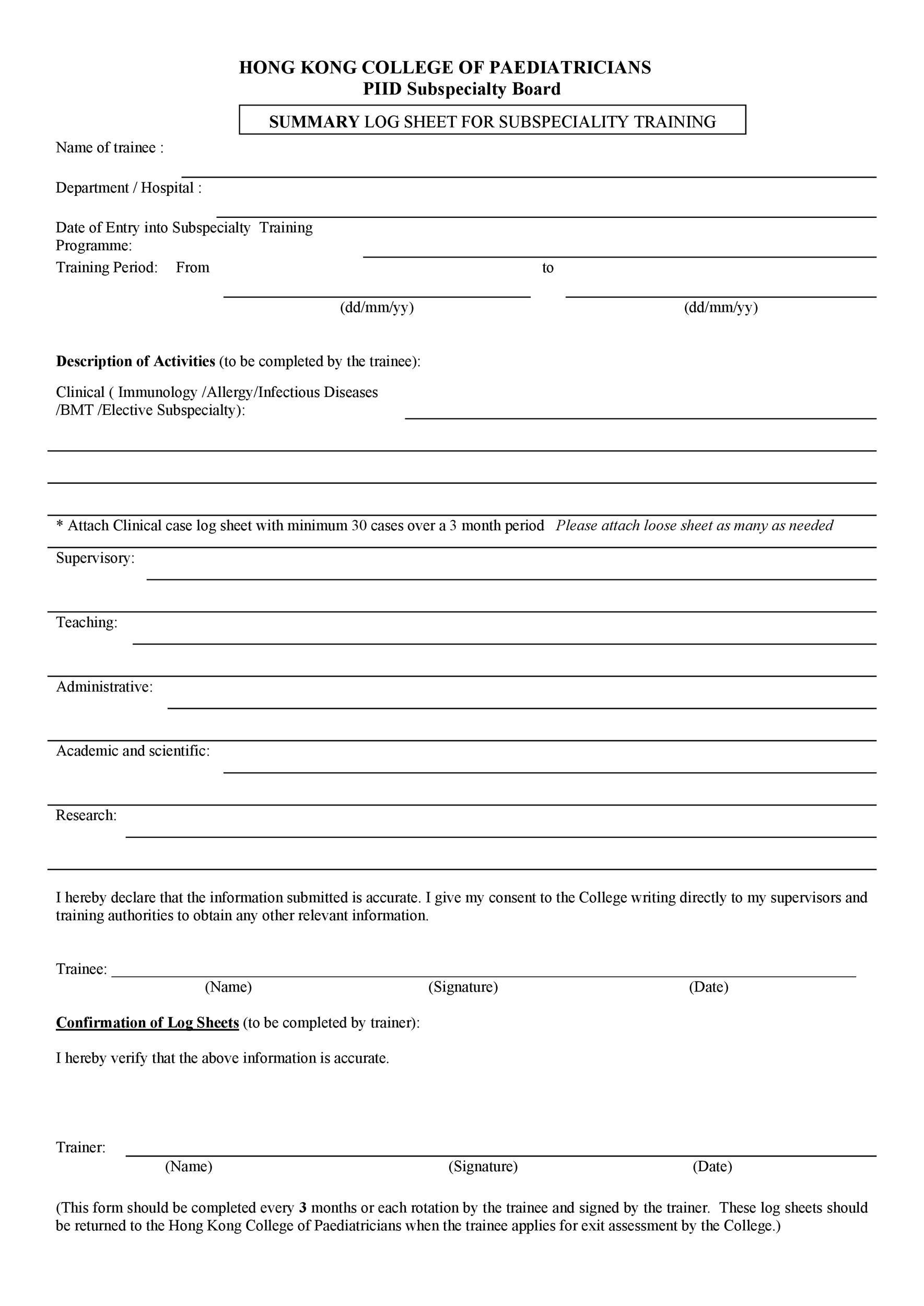Free log sheet 09