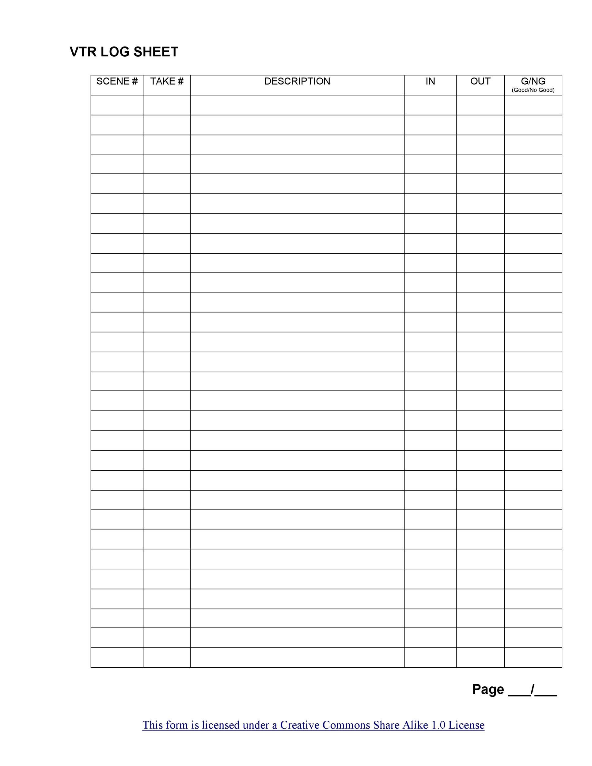 Free log sheet 10