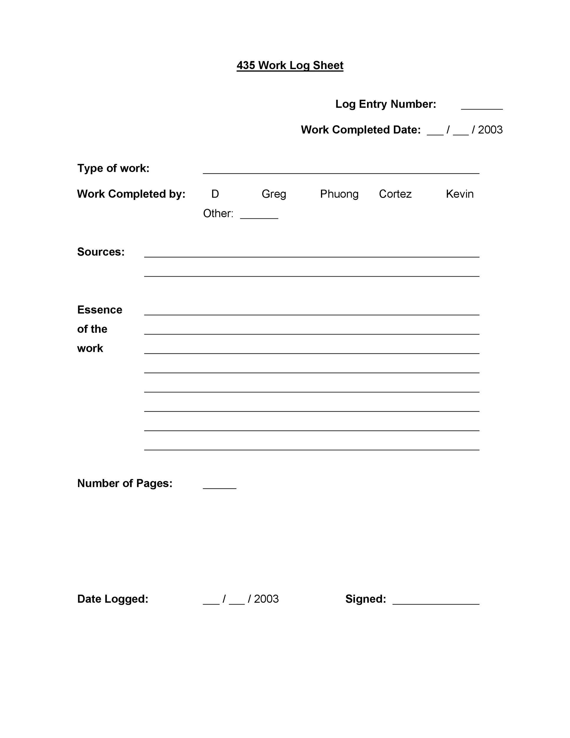 Free log sheet 11