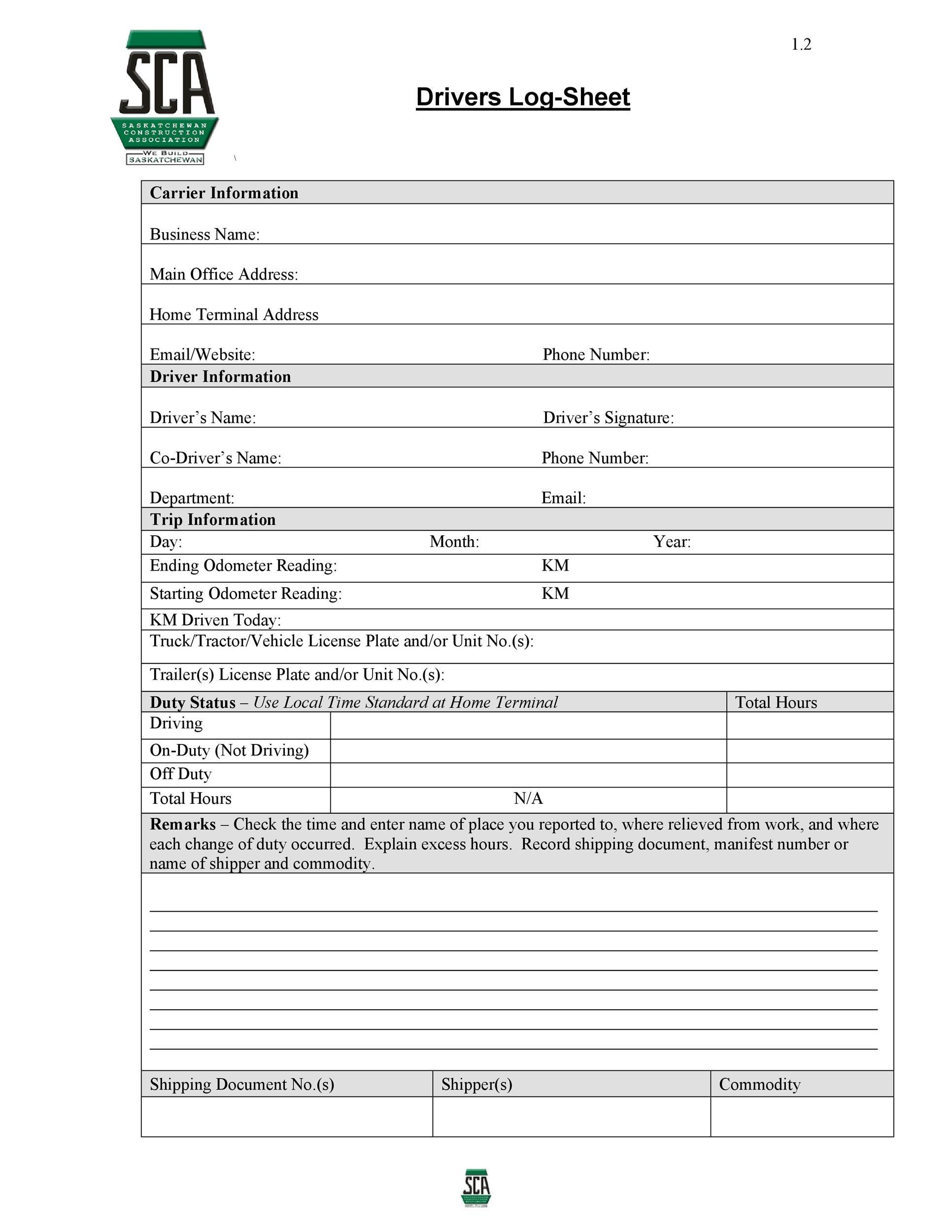 Free log sheet 14