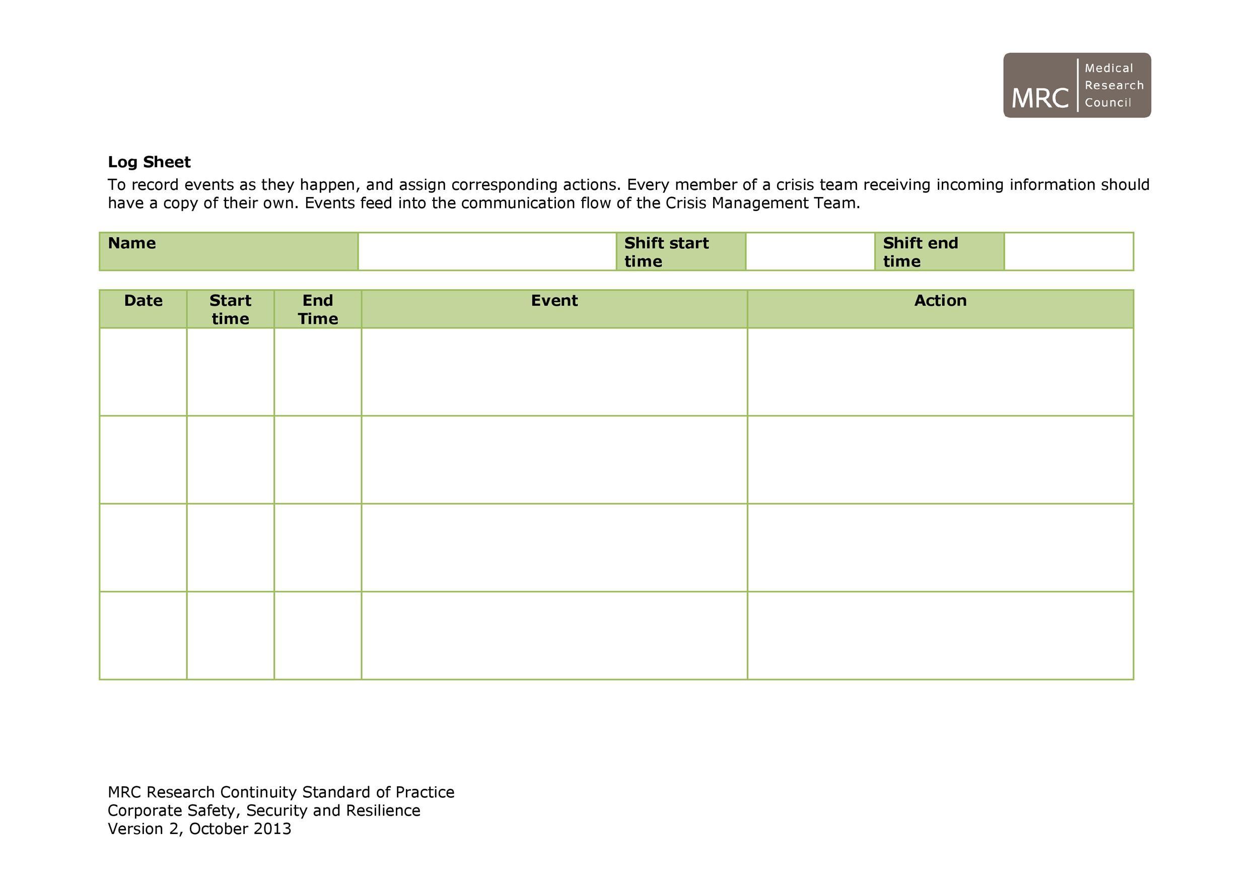Free log sheet 18