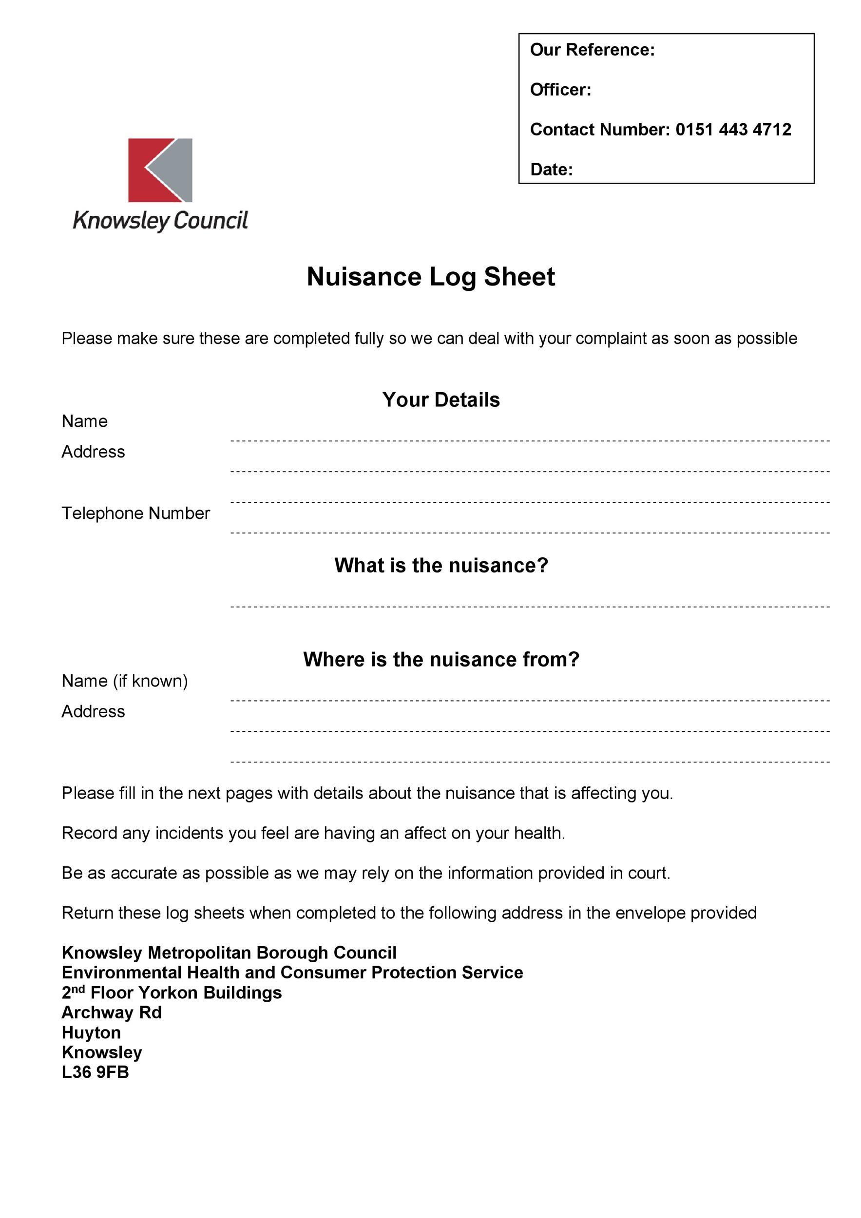 Free log sheet 22
