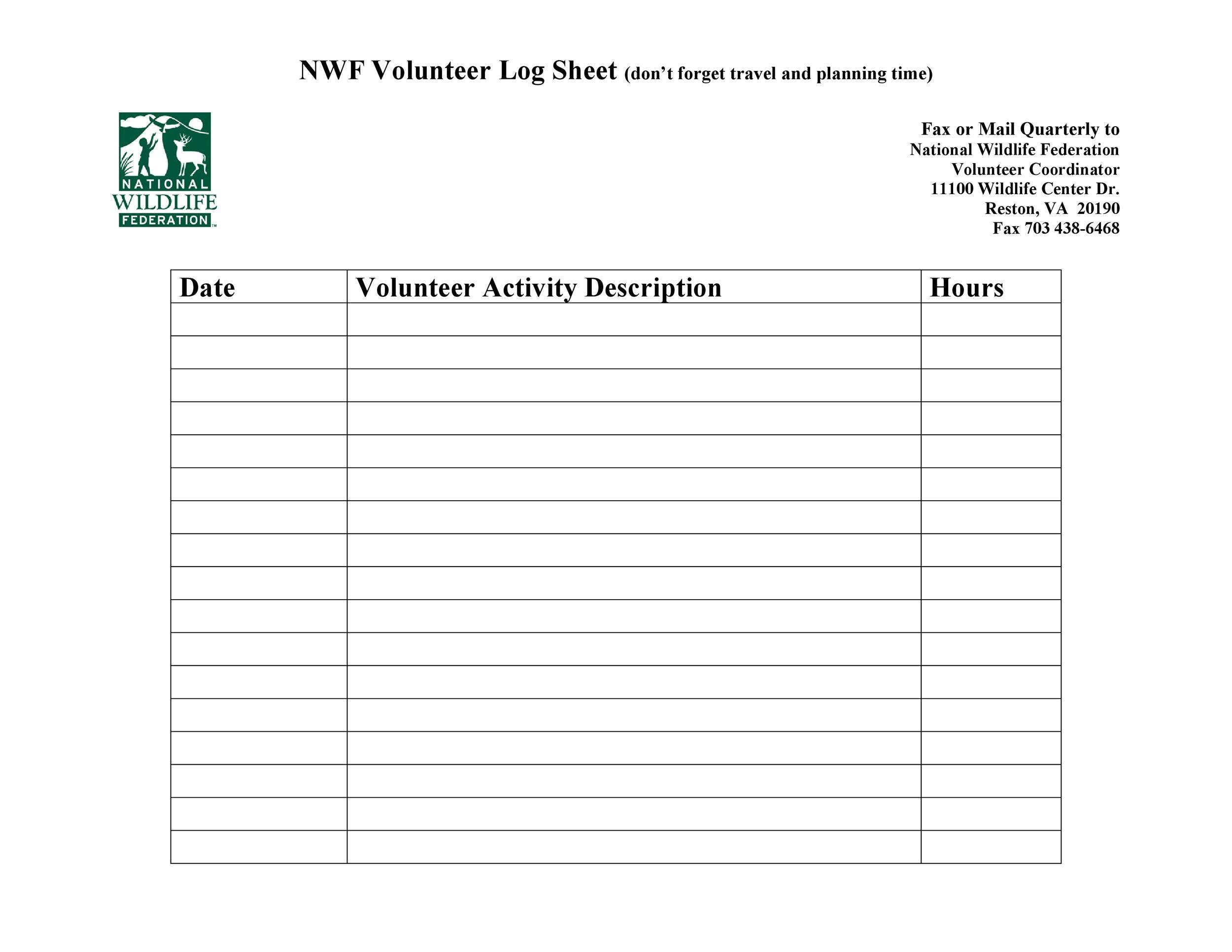 Free log sheet 23