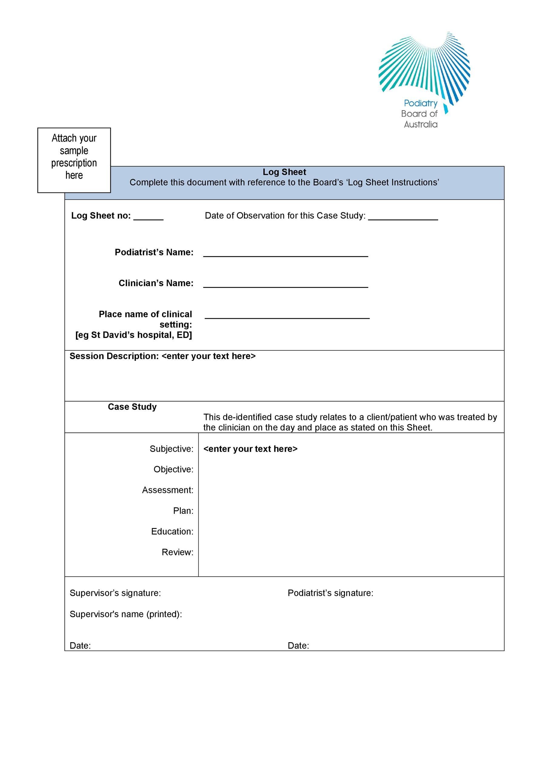 Free log sheet 29