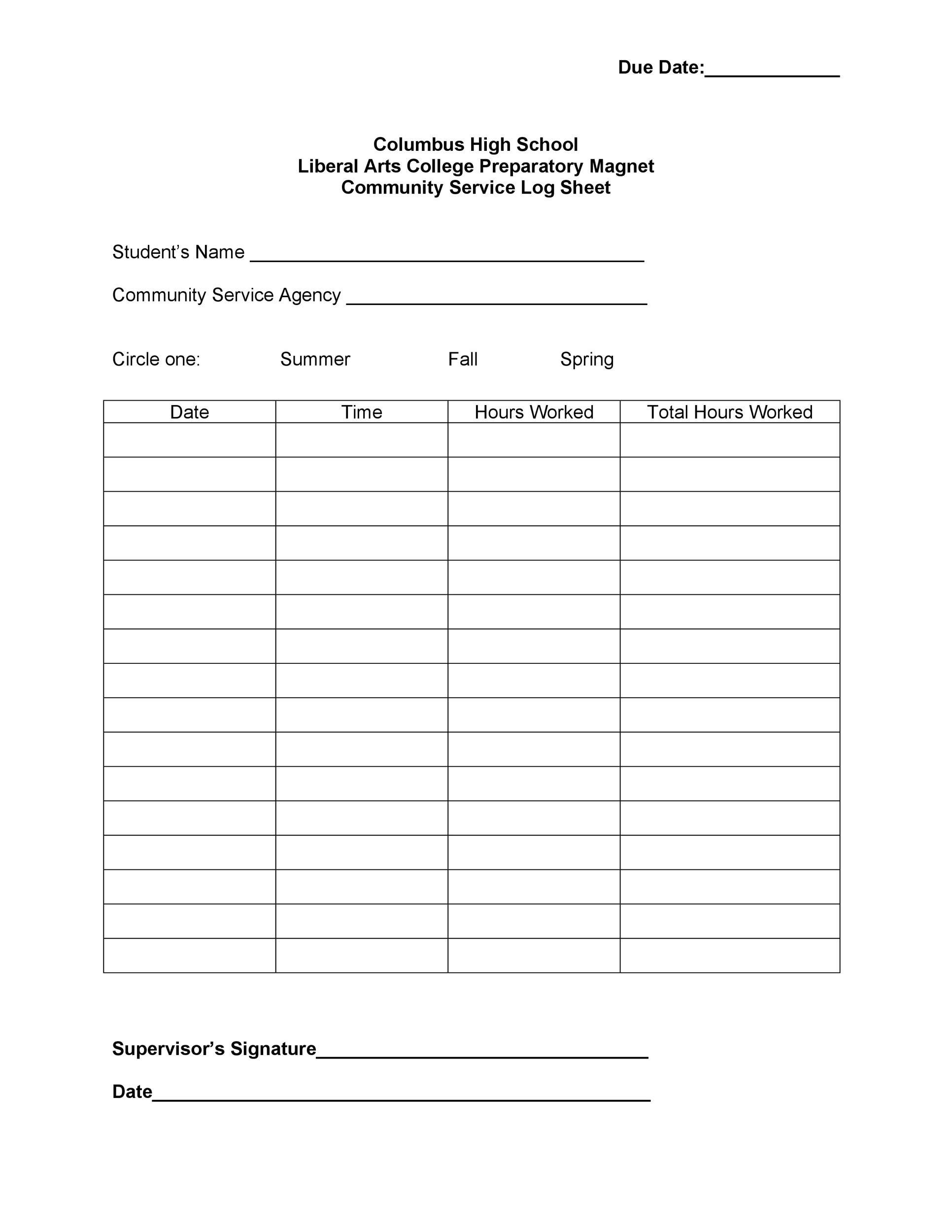 Free log sheet 34