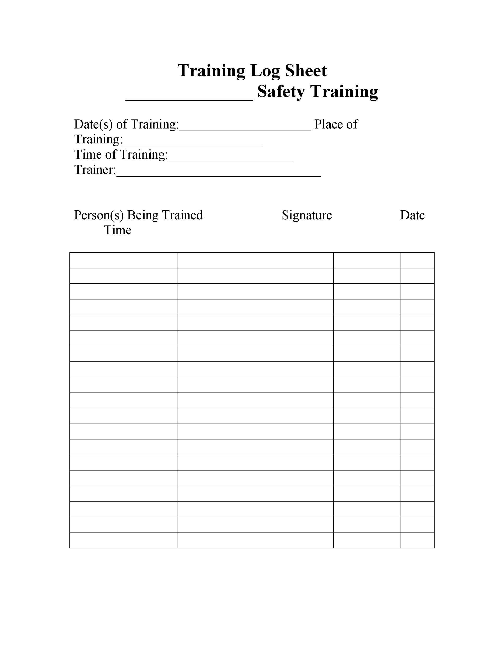Free log sheet 37