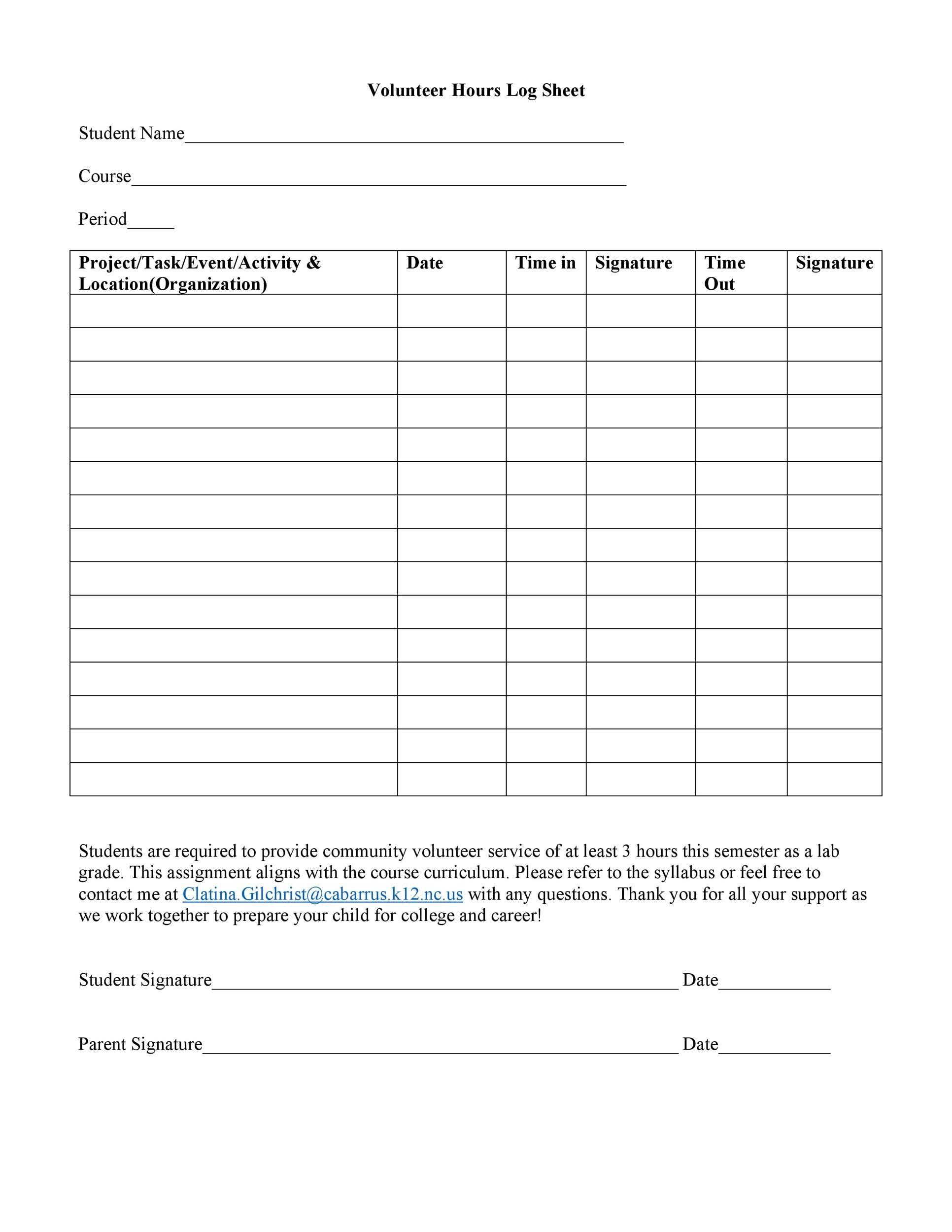 Free log sheet 40