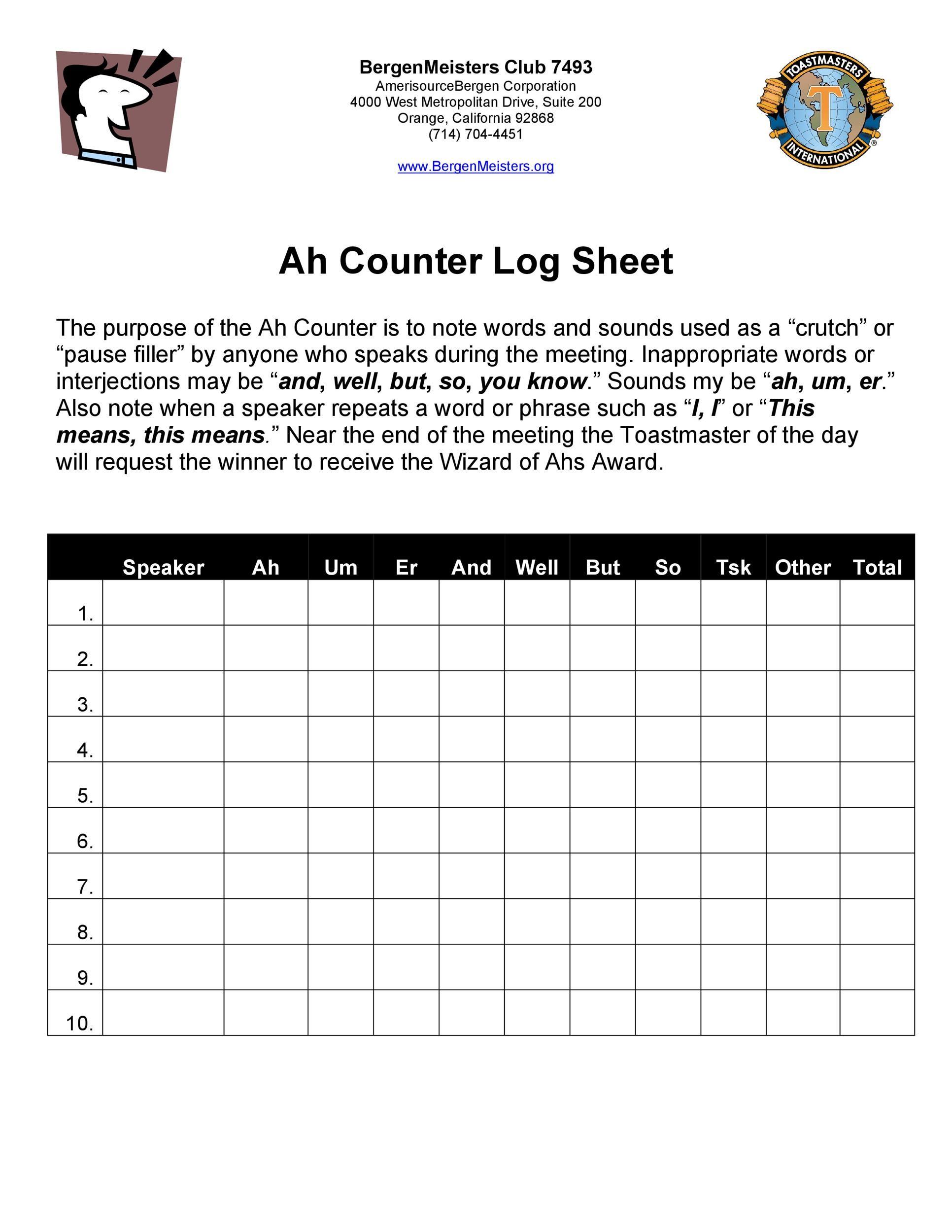 Free log sheet 41