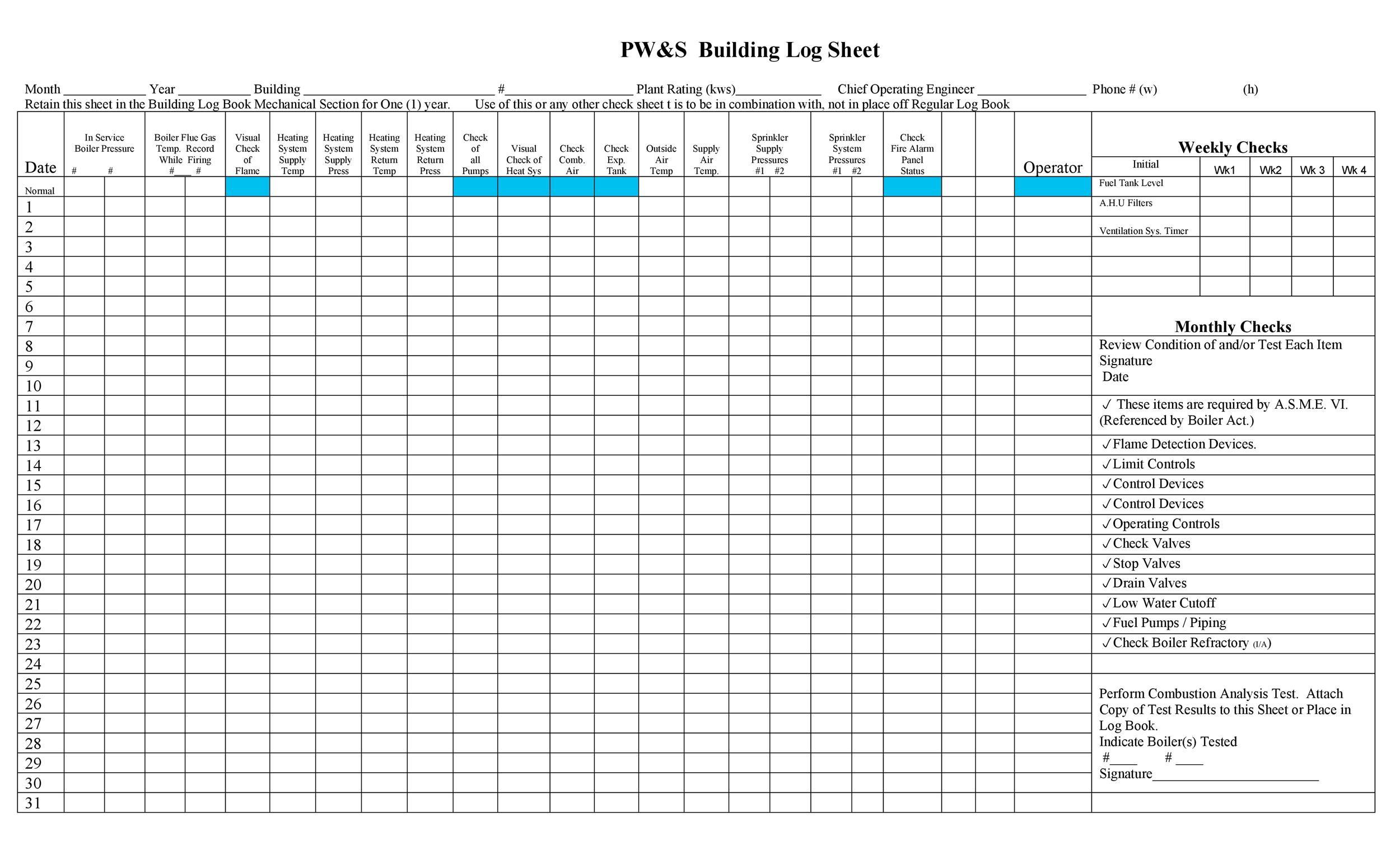 Free log sheet 43