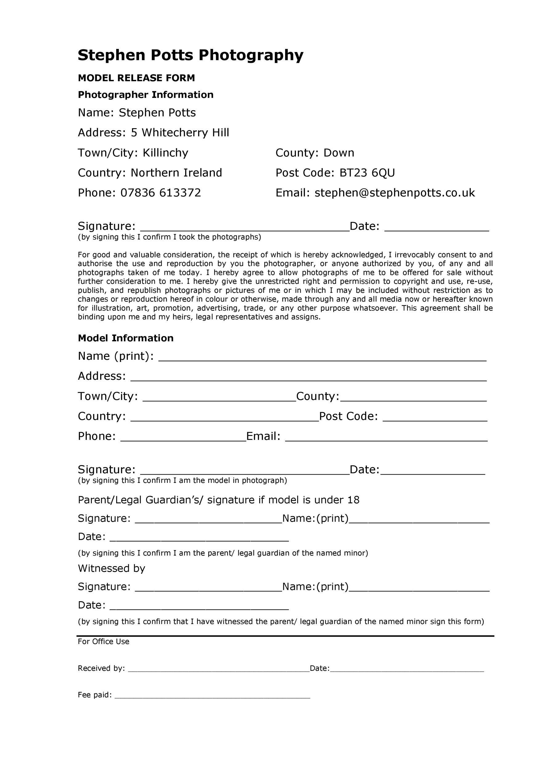 Free model release form 09