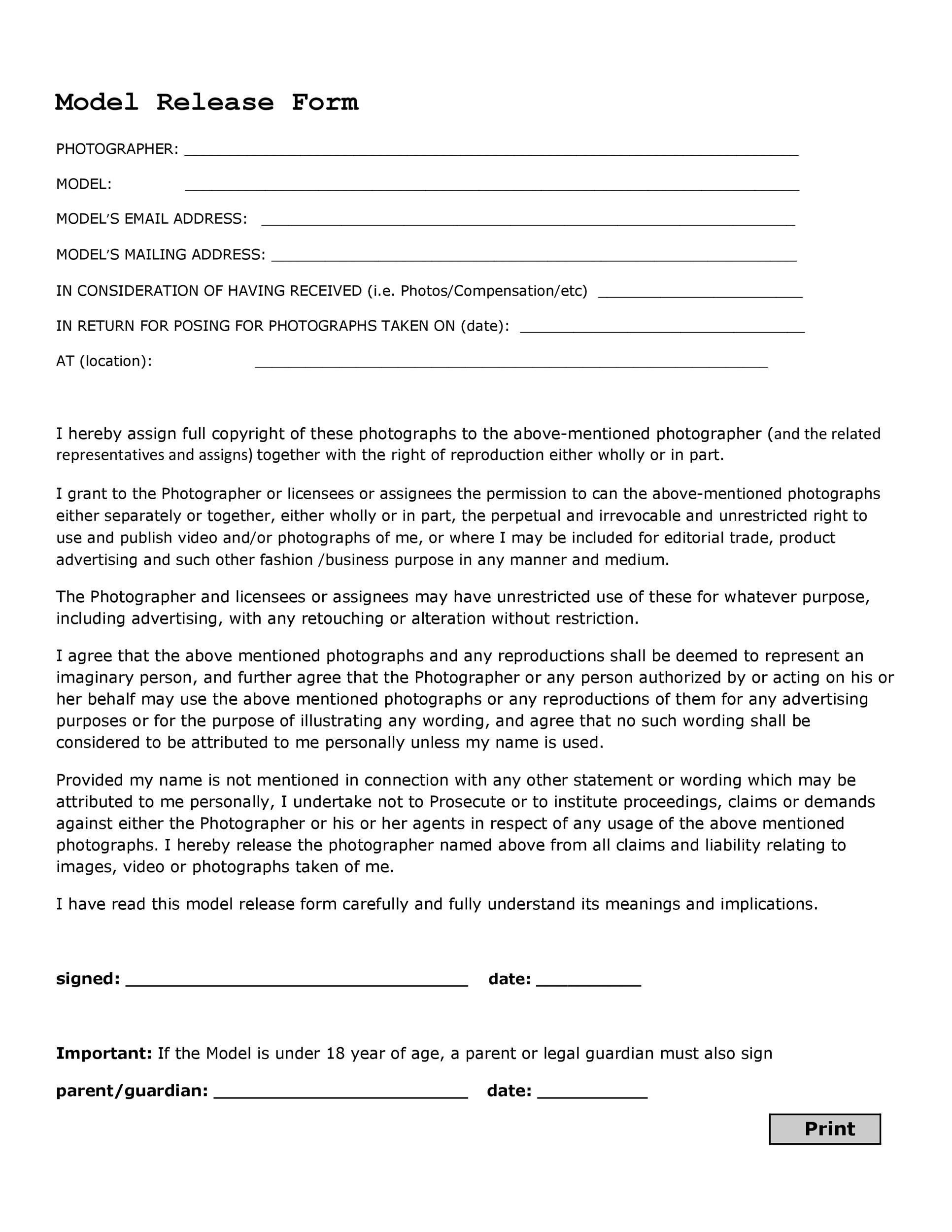 Free model release form 12