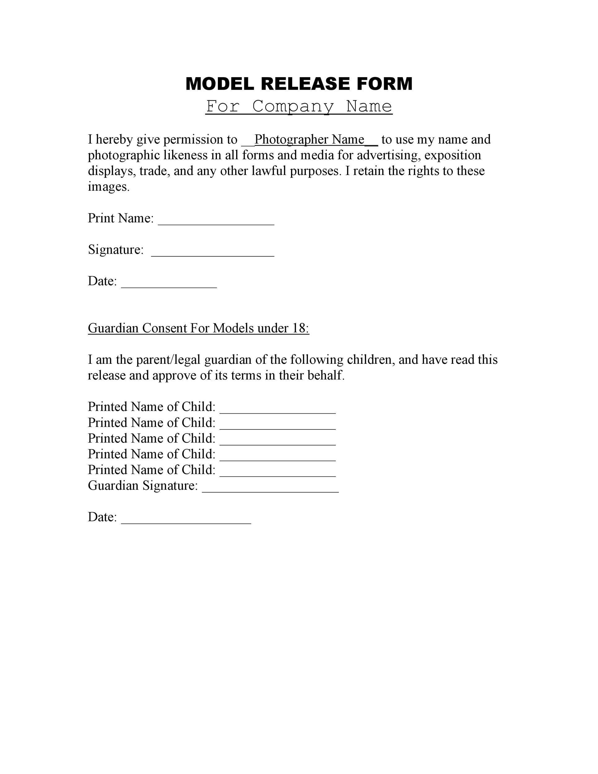 Free model release form 13