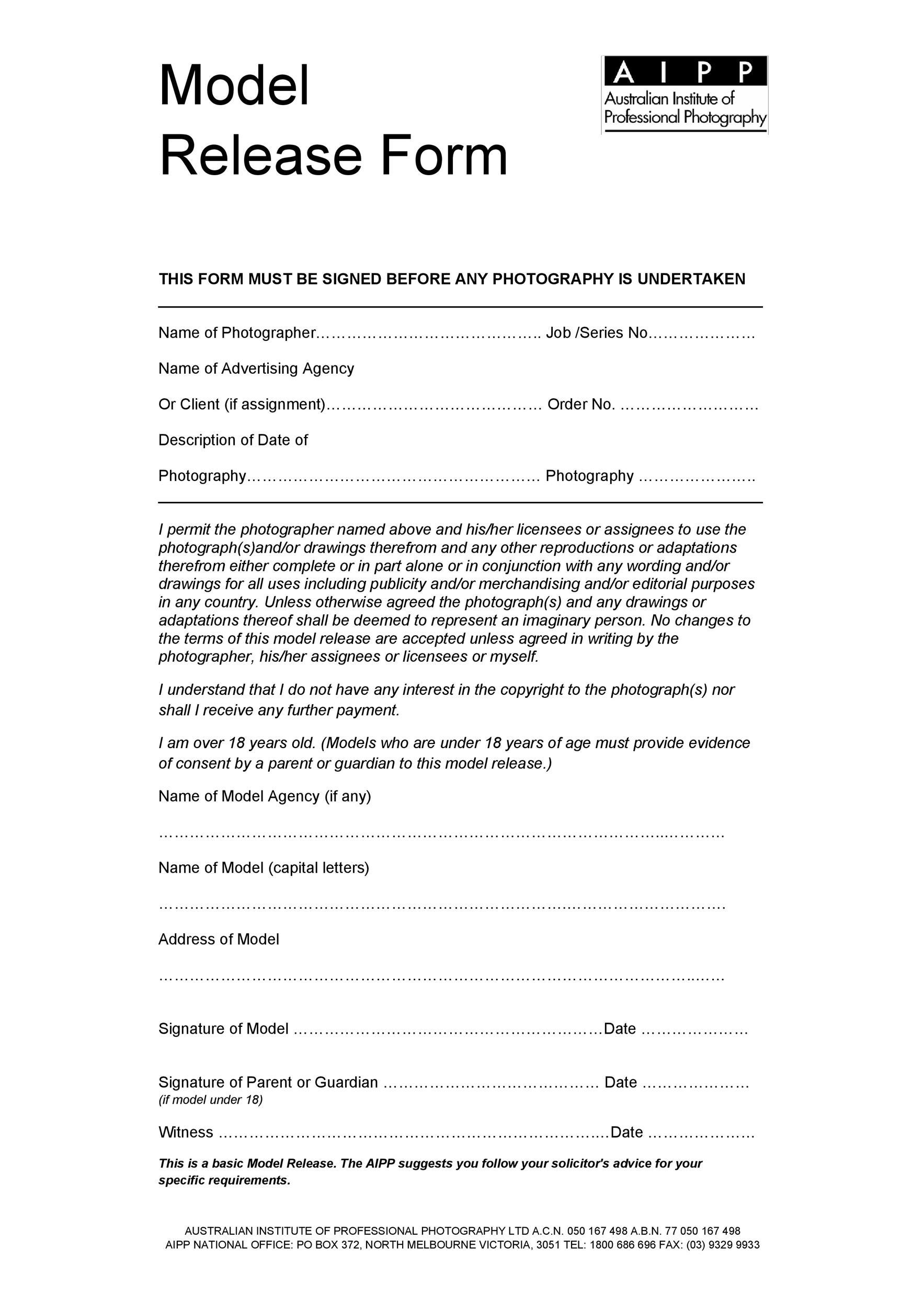 Free model release form 17