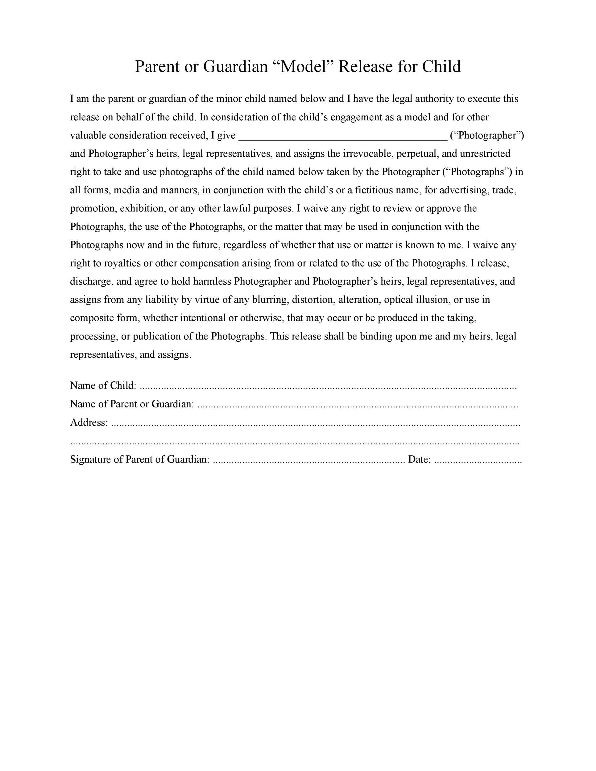 Free model release form 23