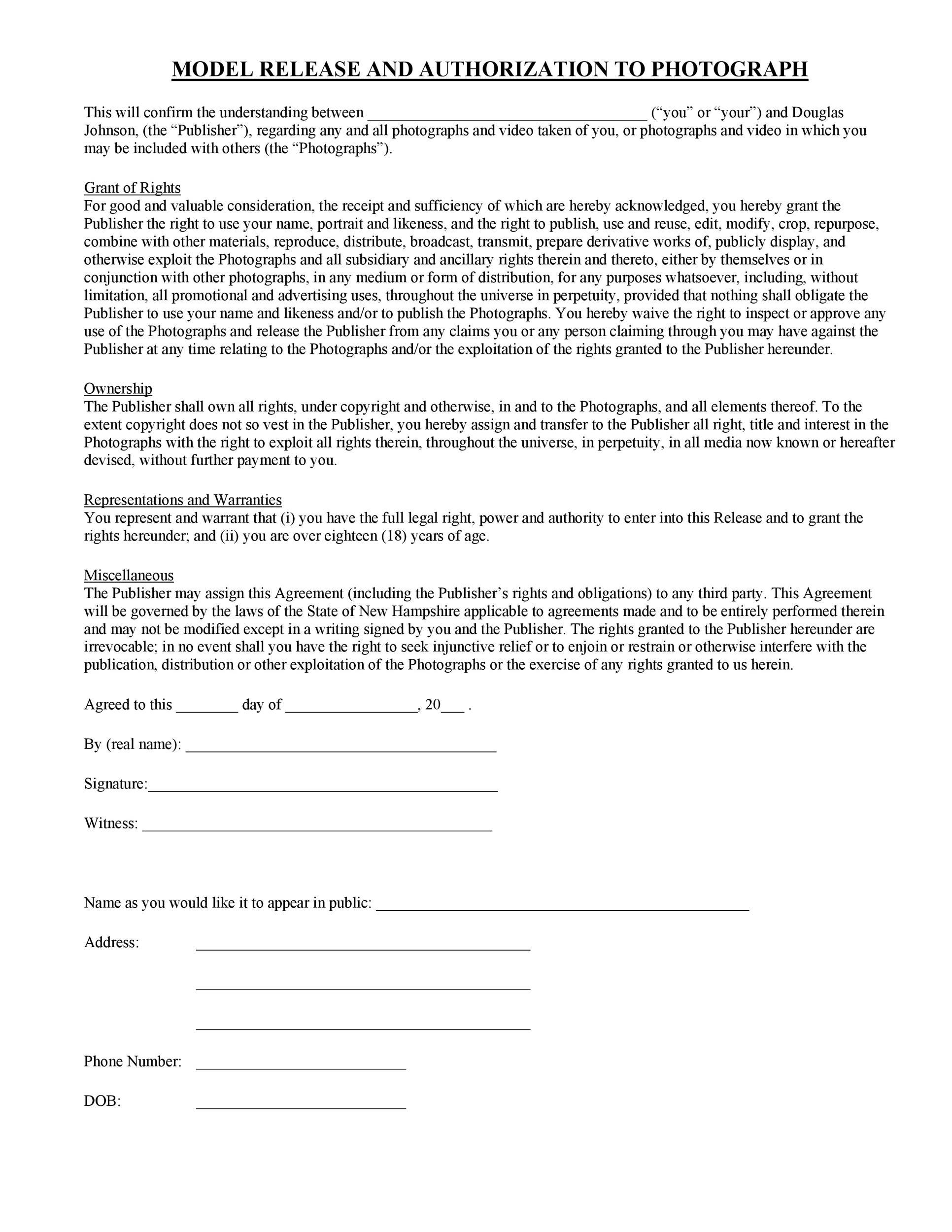 Free model release form 28