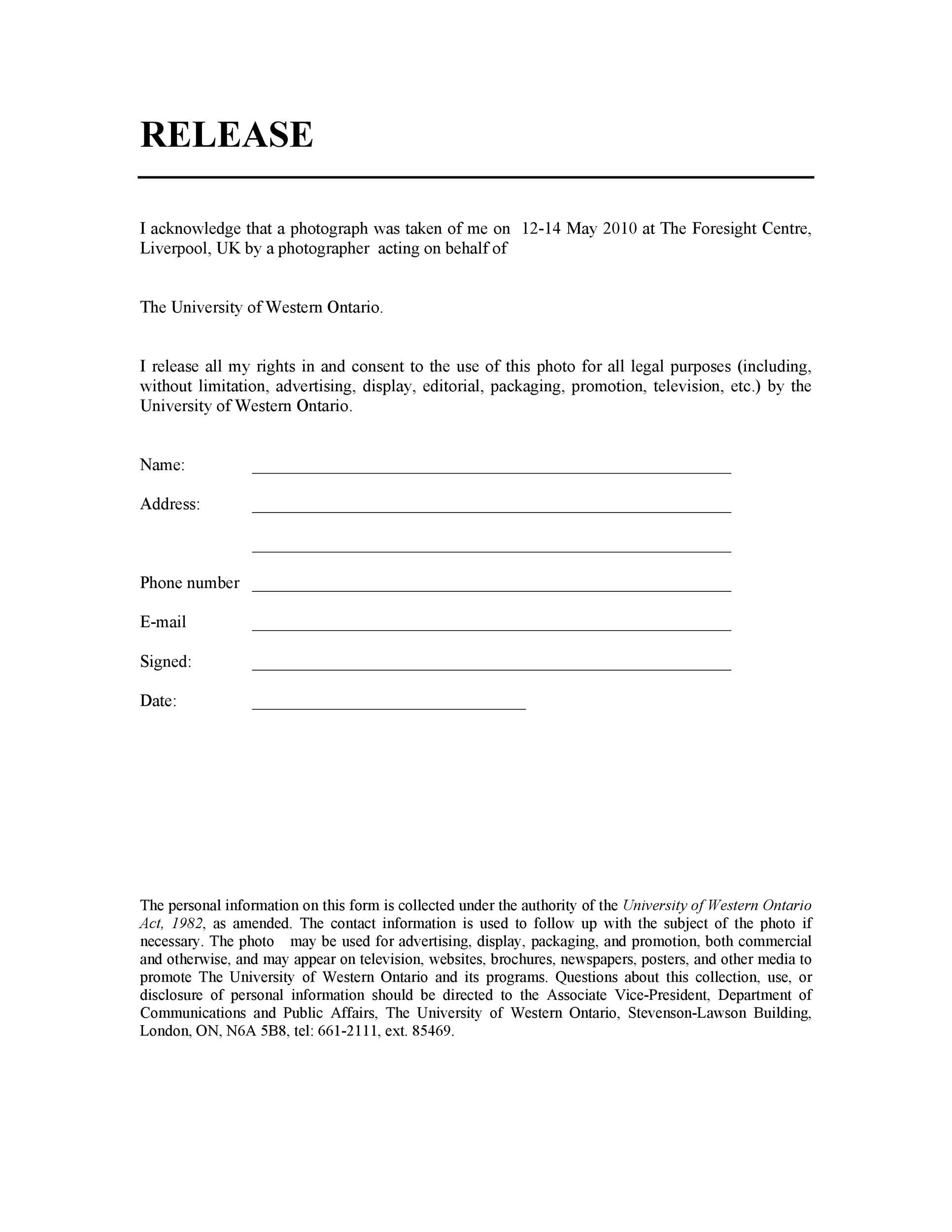 Free model release form 33